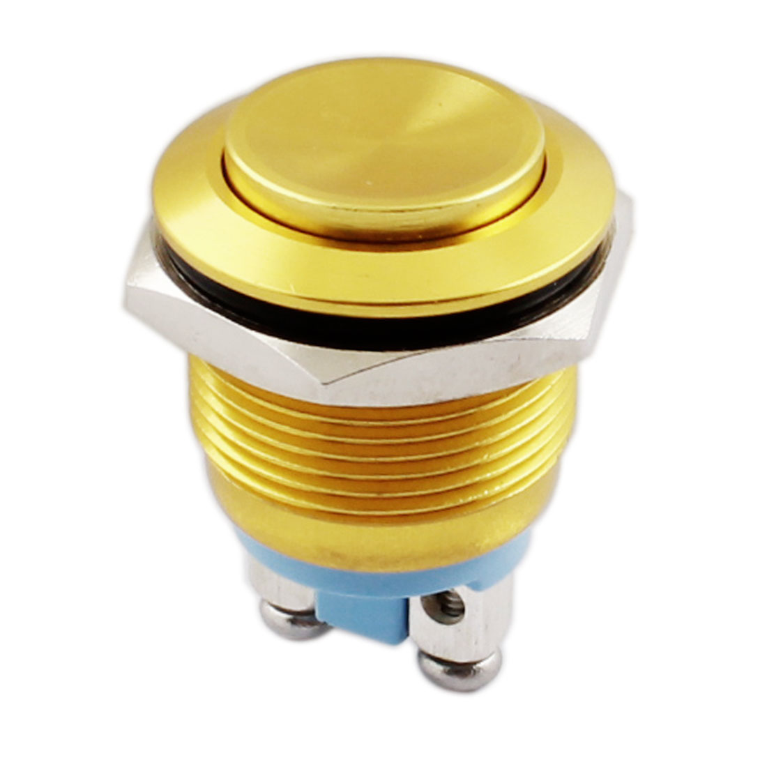 AC250V 5A 19mm Thread Panel Mount SPST 2 Terminals NO Momentary Metal Pushbutton Switch Gold Tone