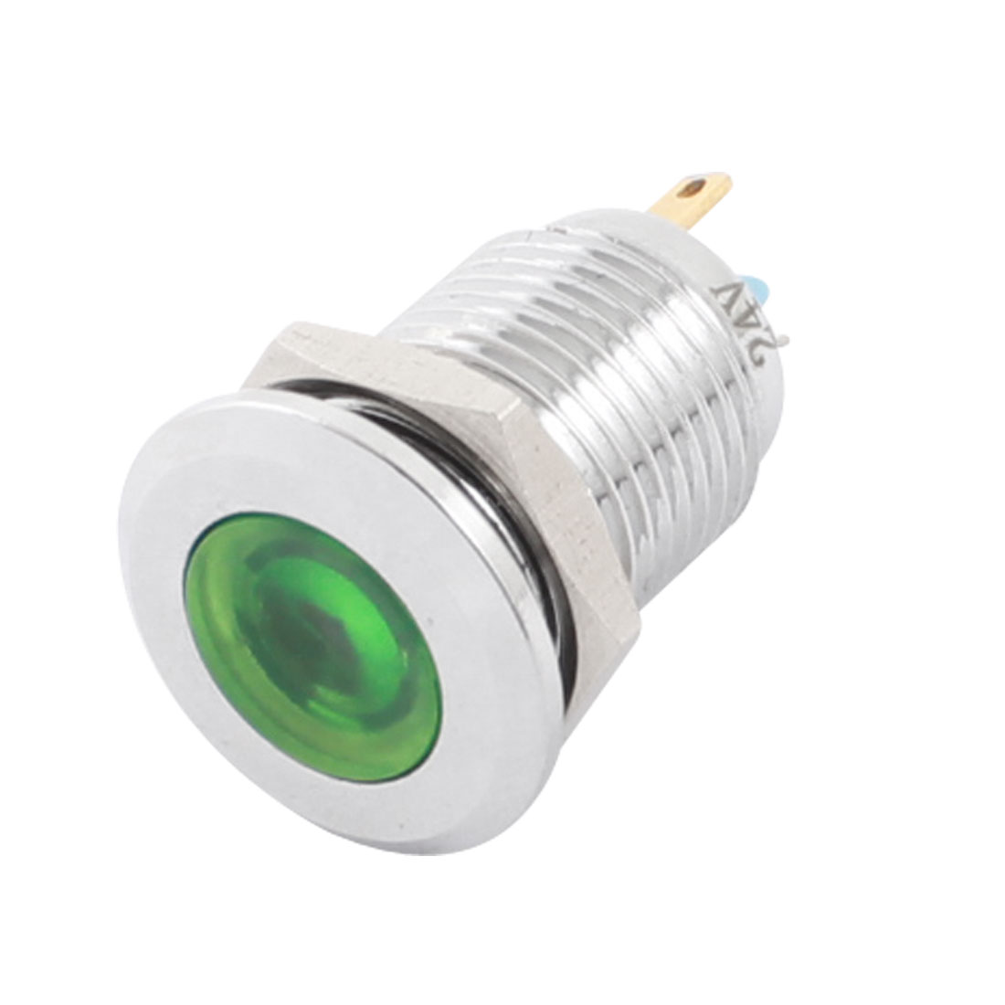 DC24V 12mm Dia Thread Panel Mount Stainless Steel Green LED Signal Indicator Light Pilot Lamp