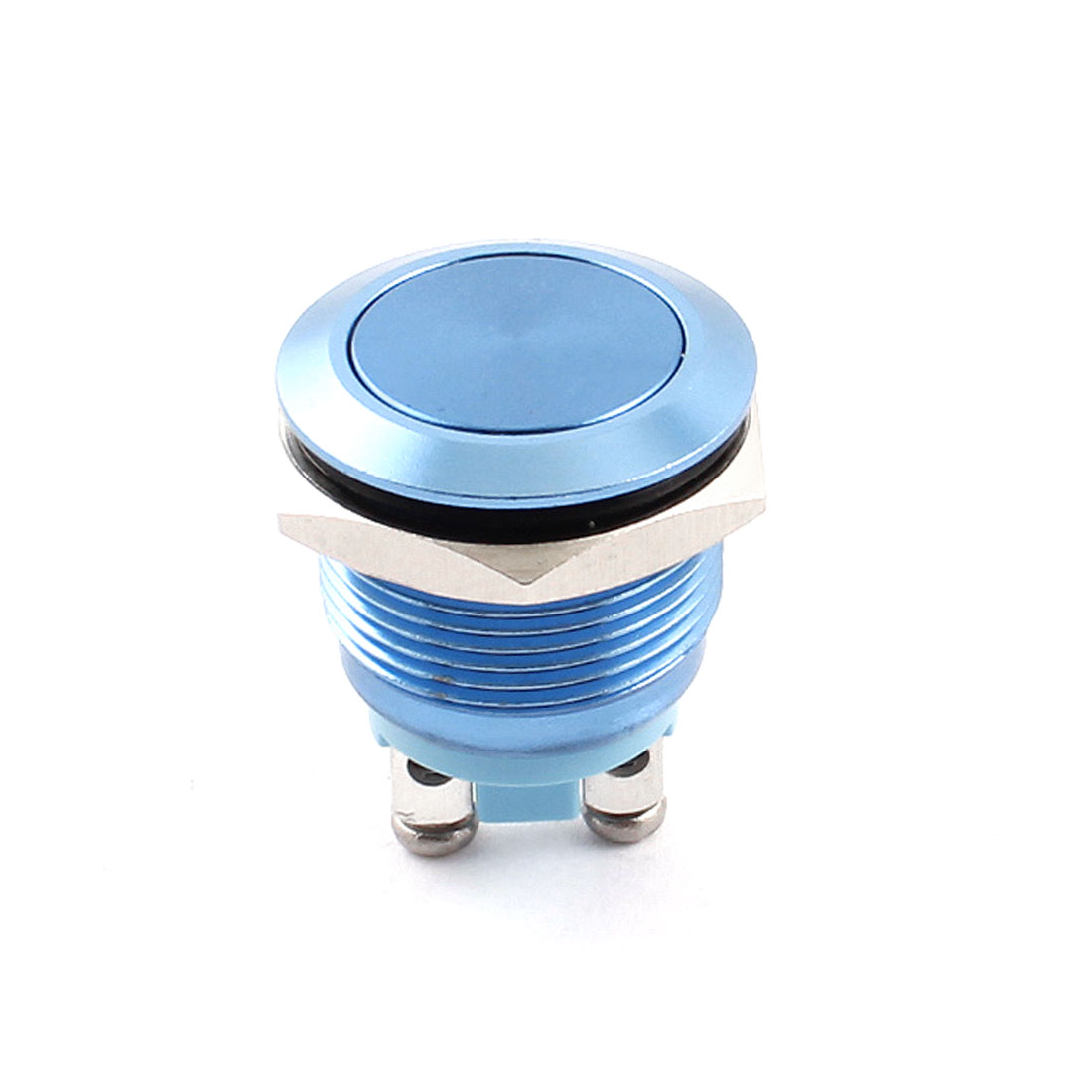 AC 250V 5A 19mm Thread Panel Mount SPST NO Momentary Blue Flat Head Metal Pushbutton Switch
