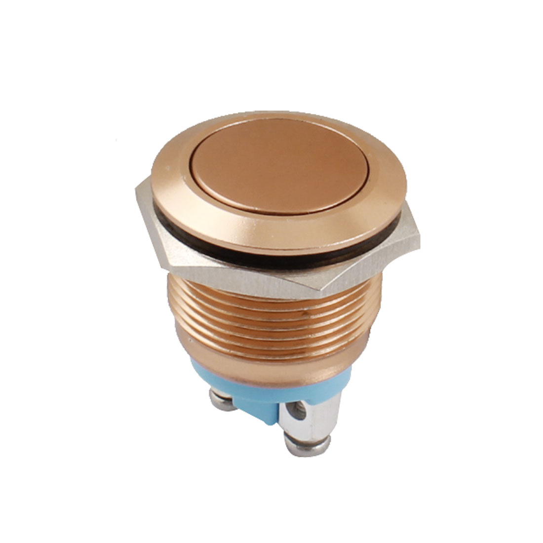 AC250V 5A 19mm Thread Panel Mount SPST 2-Terminal Normal Open Momentary Metal Pushbutton Switch Copper Tone