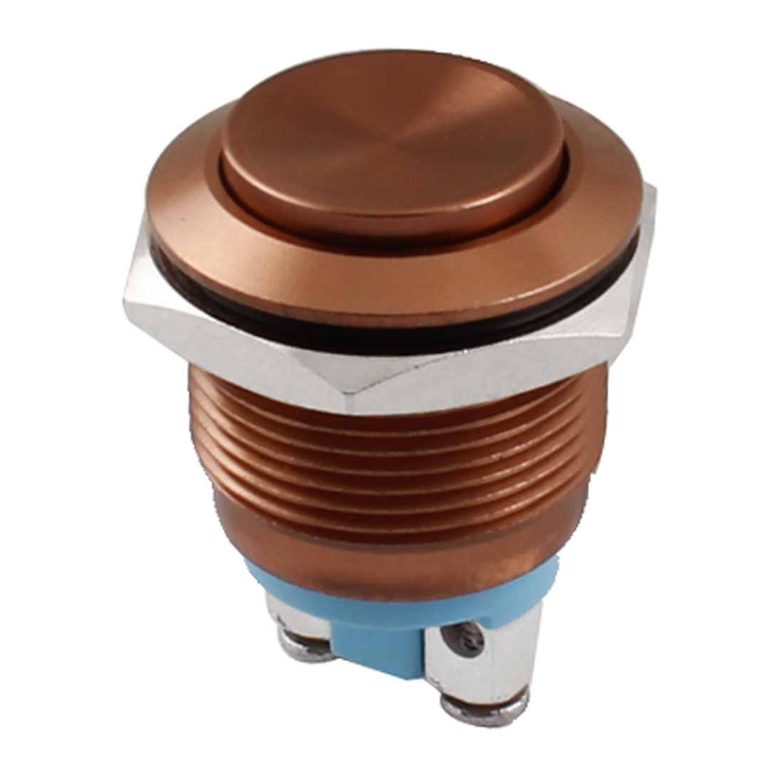 19mm Thread Panel Mount SPST NO Momentary Coffee Color Metal Push Button Switch AC 250V 5A