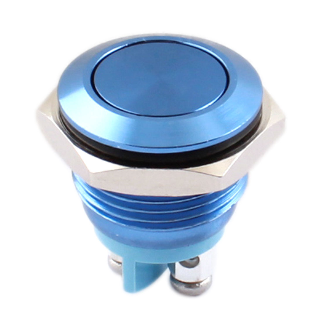 16mm Thread Panel Mount SPST NO Momentary Control Blue Metal Push Button Switch AC 250V 3A