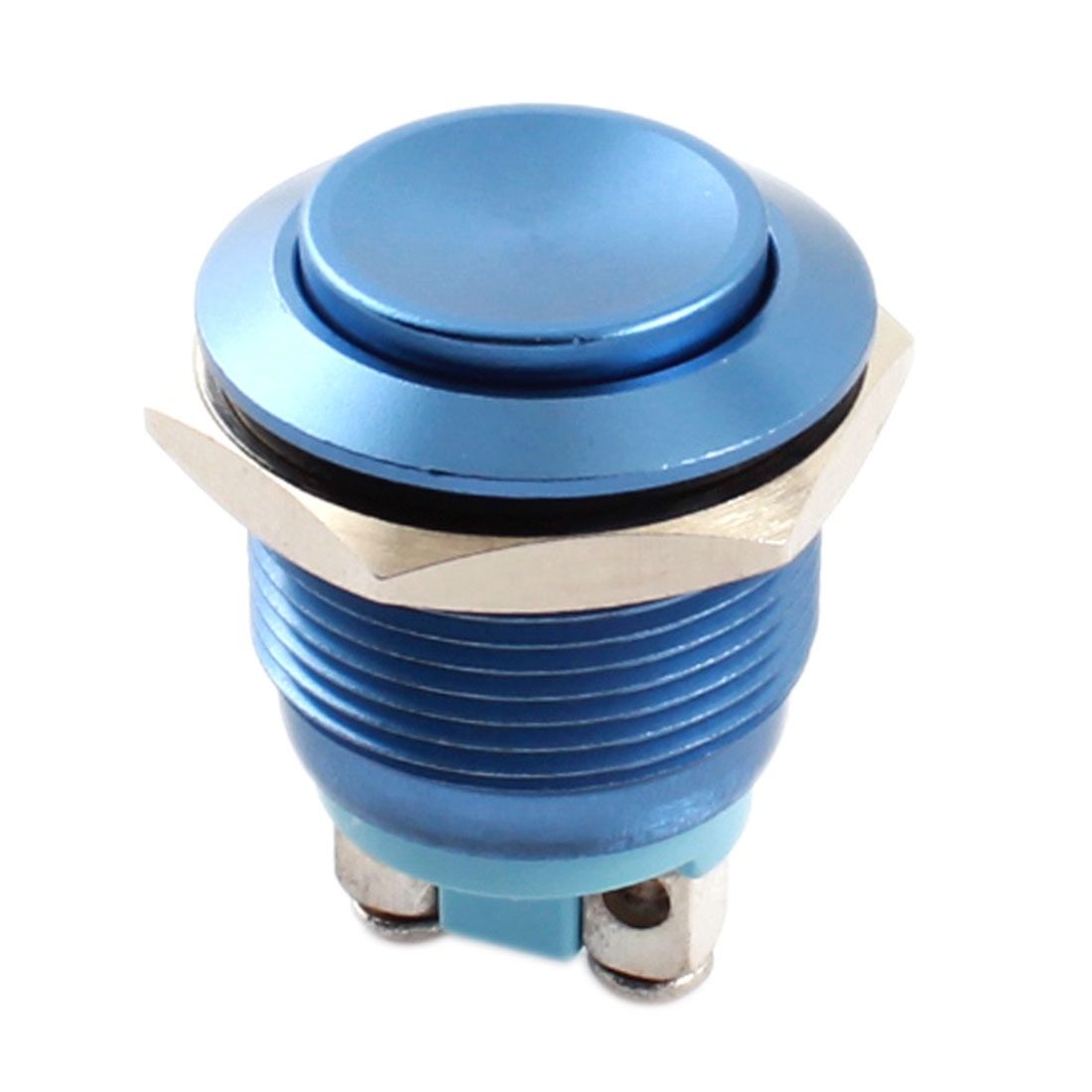 AC250V 5A 19mm Thread Panel Mount SPST 2 Terminals Normal Open Momentary Reset Metal Pushbutton Switch Blue
