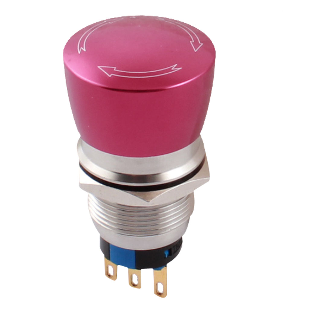 AC 250V 5A 19mm Thread Panel Mount SPDT Locking Rotary Reset Stainless Steel Red Pushbutton Switch