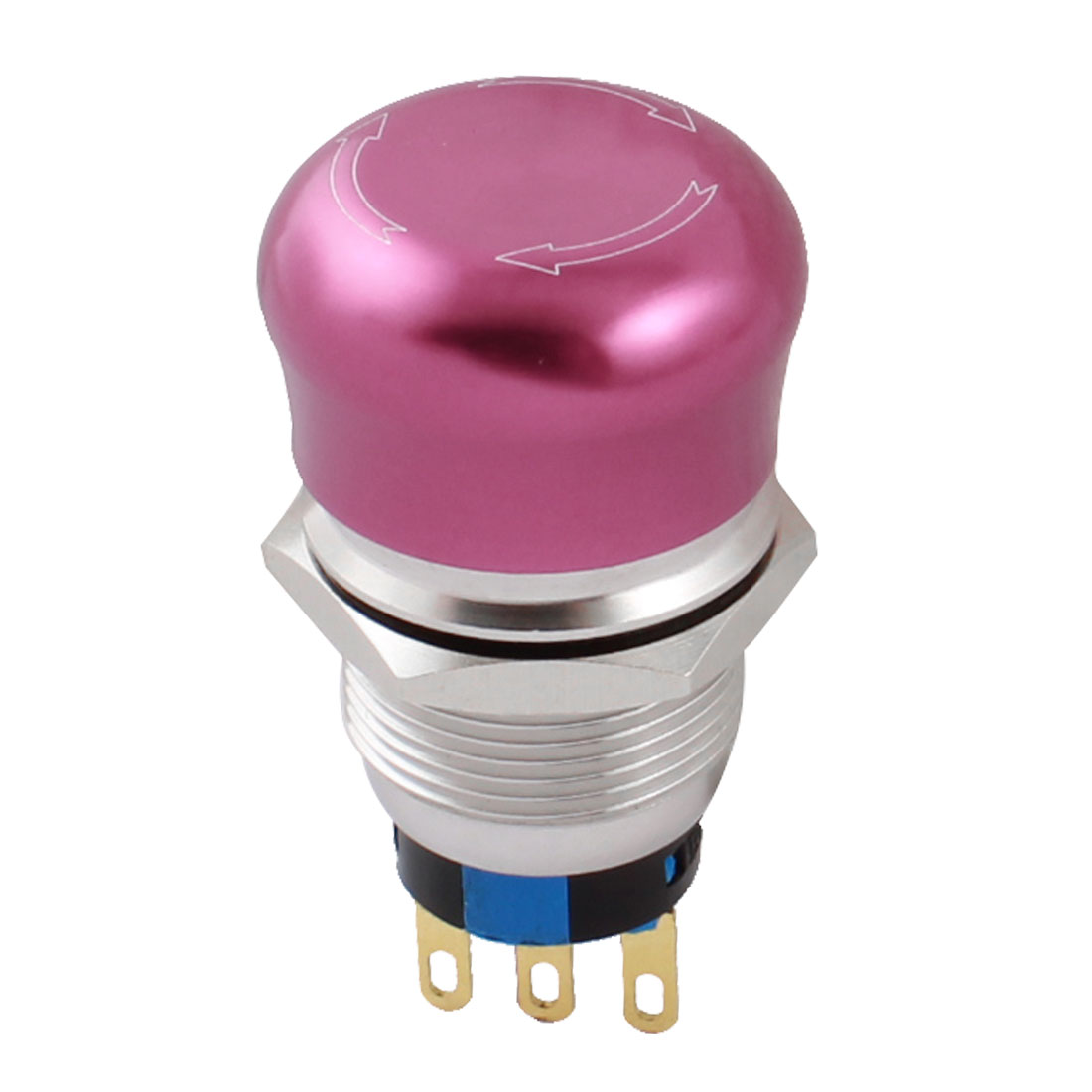 AC250V 5A 19mm SPDT 3Pin 1NO 1NC Locking Rotary Reset Stainless Steel Red Head Emergency Stop Push Button Switch