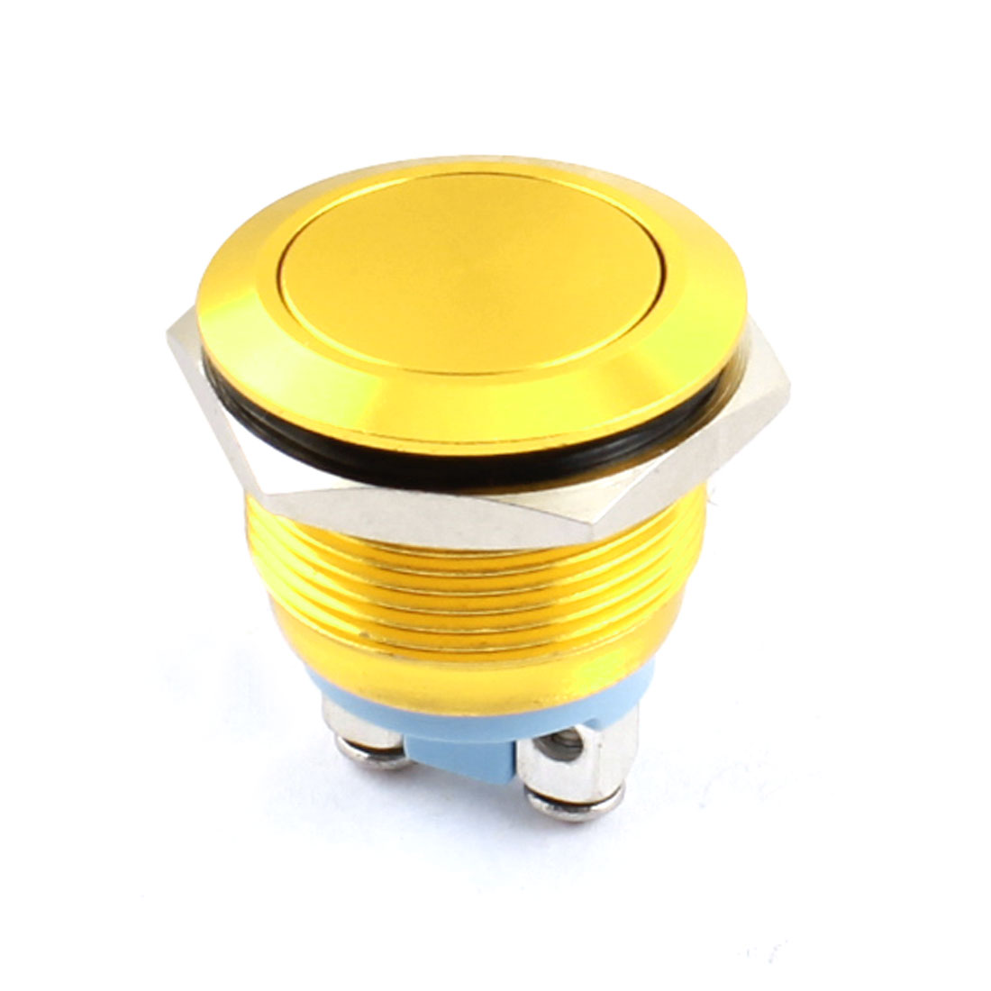 AC 250V 5A 19mm Thread Panel Mount SPST 2 Terminals Normal Open Momentary Yellow Metal Pushbutton Switch