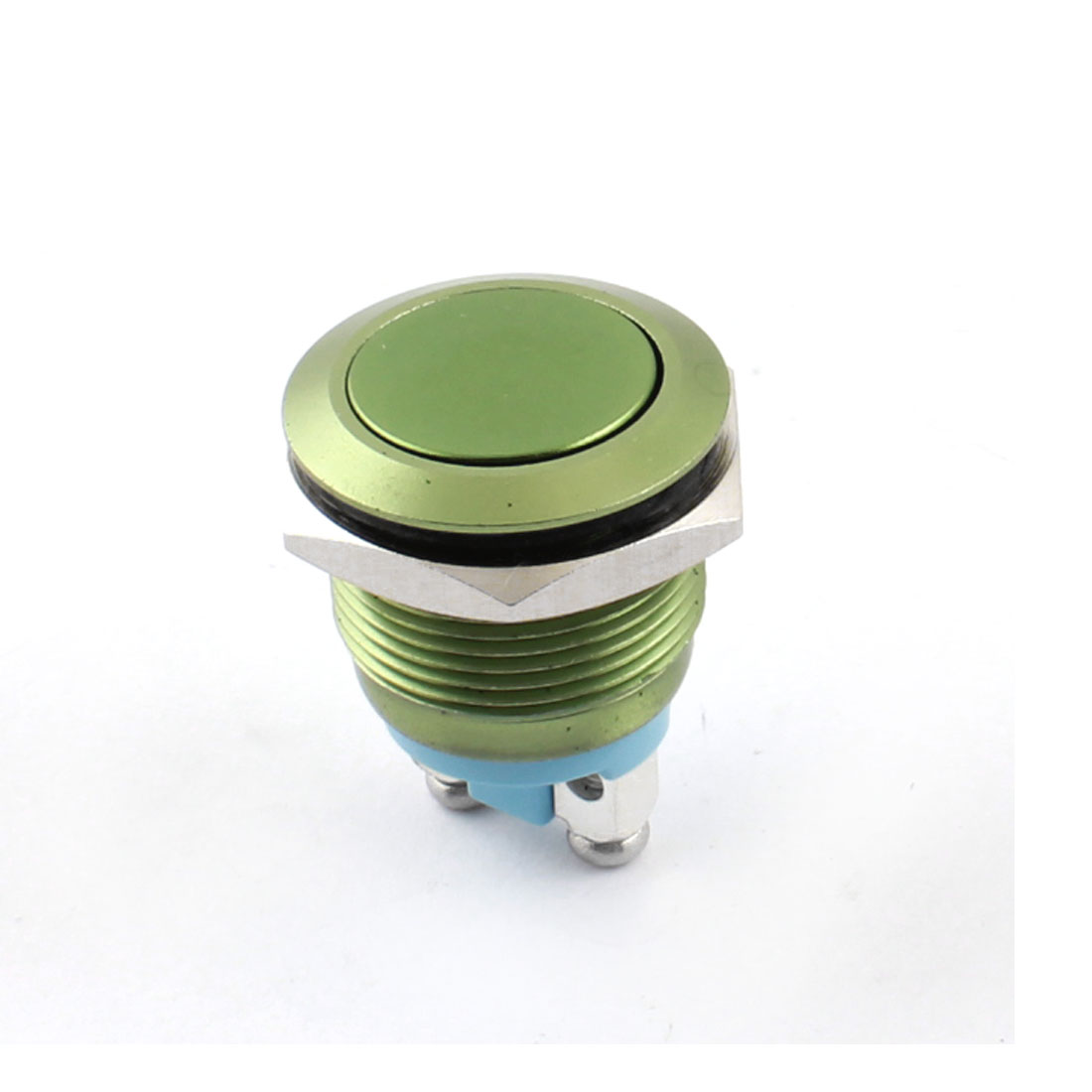 19mm Thread Panel Mount SPST Normal Open Momentary Control Metal Push Button Switch Green AC 250V 5A