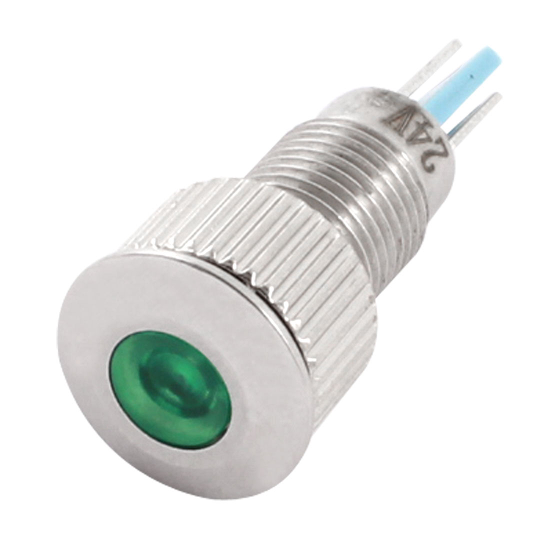 DC24V 8mm Thread Panel Mount Stainless Steel Green LED Signal Indicator Light Pilot Lamp Bulb