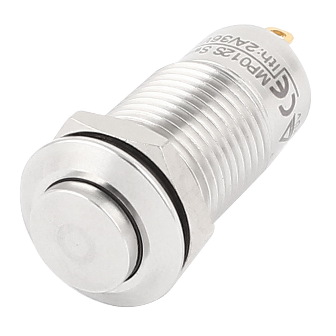 AC 36V 2A SPST 12mm Thread Momentary Metal Push Button Switch