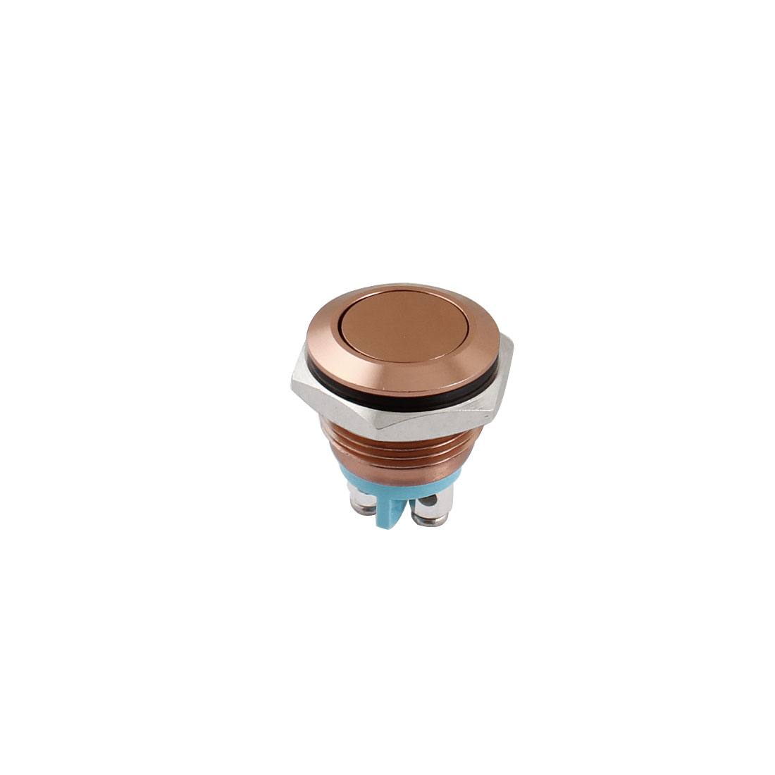 AC 250V 3A 16mm Dia Thread Panel Mount SPST Normal Open Momentary Coffee Color Metal Push Button Switch