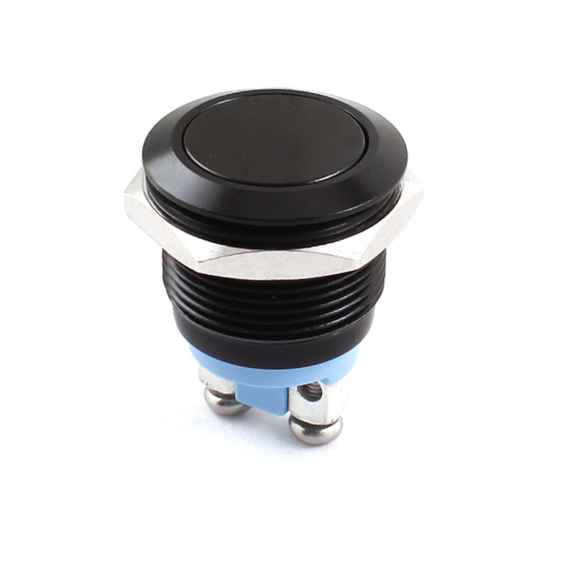 AC 250V 5A 19mm Dia Thread Panel Mount SPST Normal Open 2 Terminals Momentary Black Metal Push Button Switch