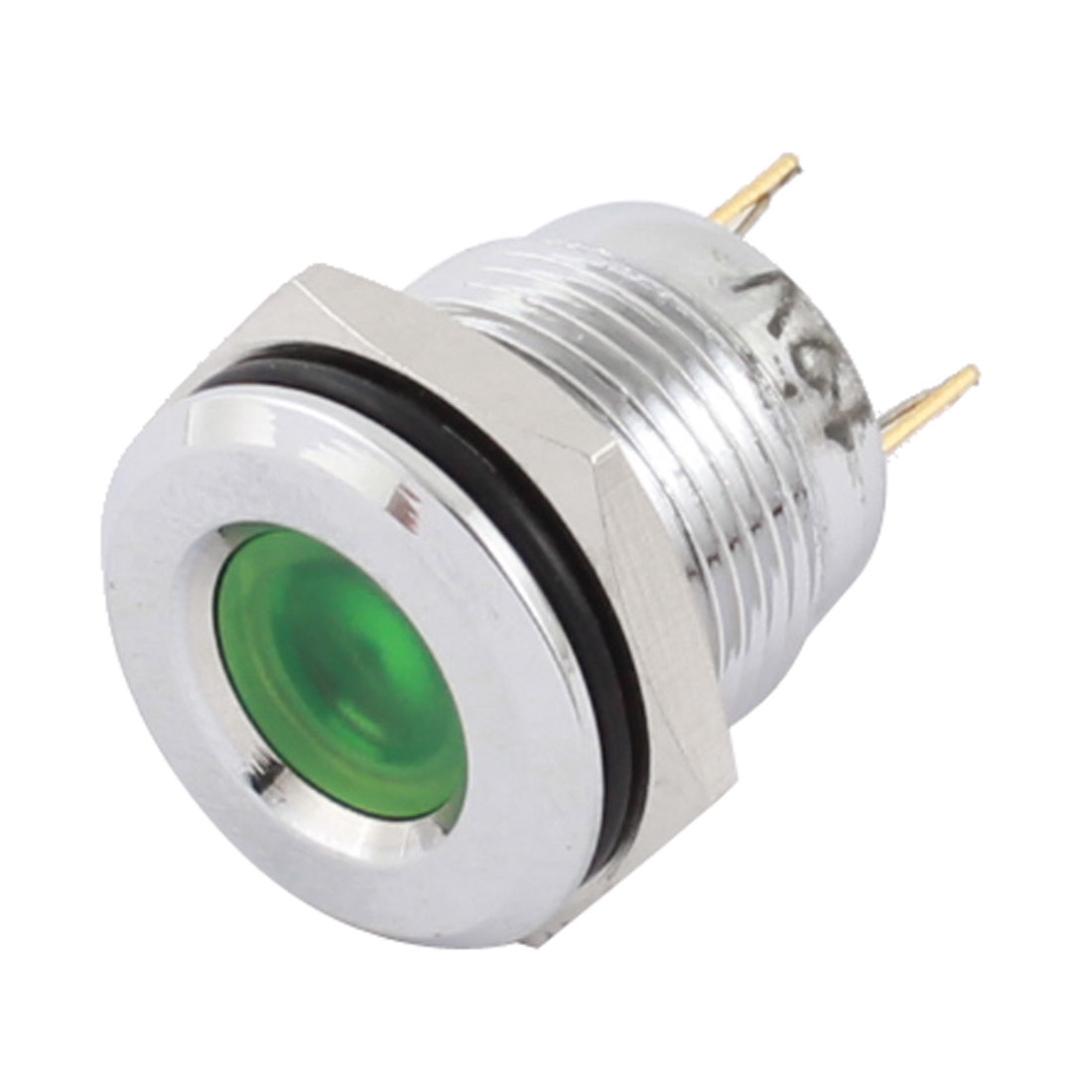 16mm Dia Thread Panel Mount Stainless Steel Green LED Signal Indicator Light Pilot Lamp Bulb DC 12V