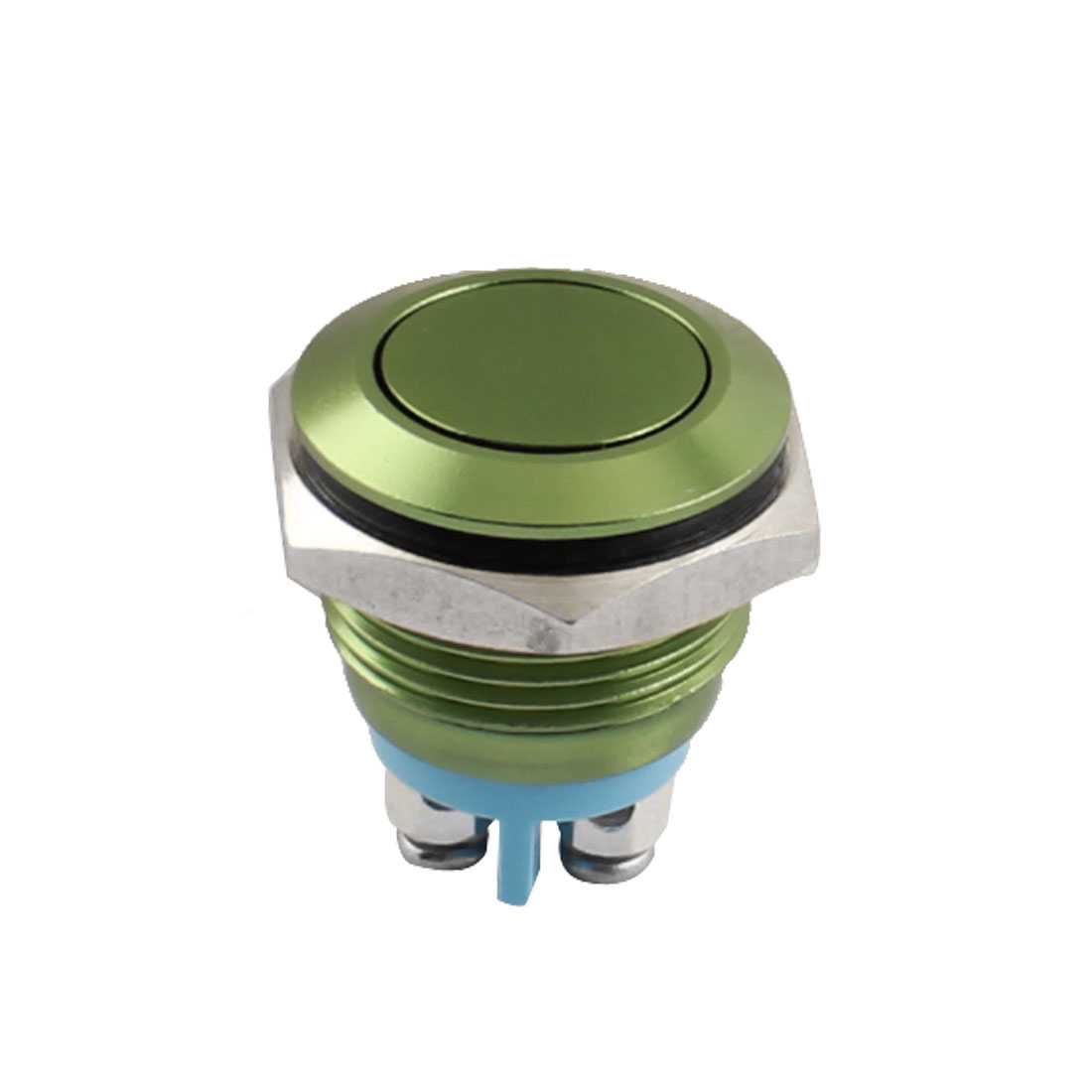 AC250V 3A 16mm Thread Panel Mount SPST Normal Open Momentary Control Green Metal Push Button Switch