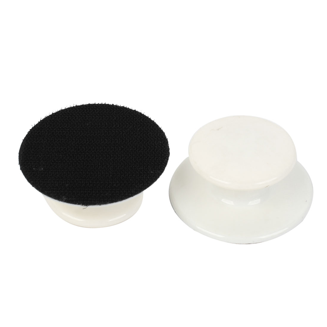 2 Pcs Car 68mm Dia Black White Cleaning Tools Threaded Polishing Wheel