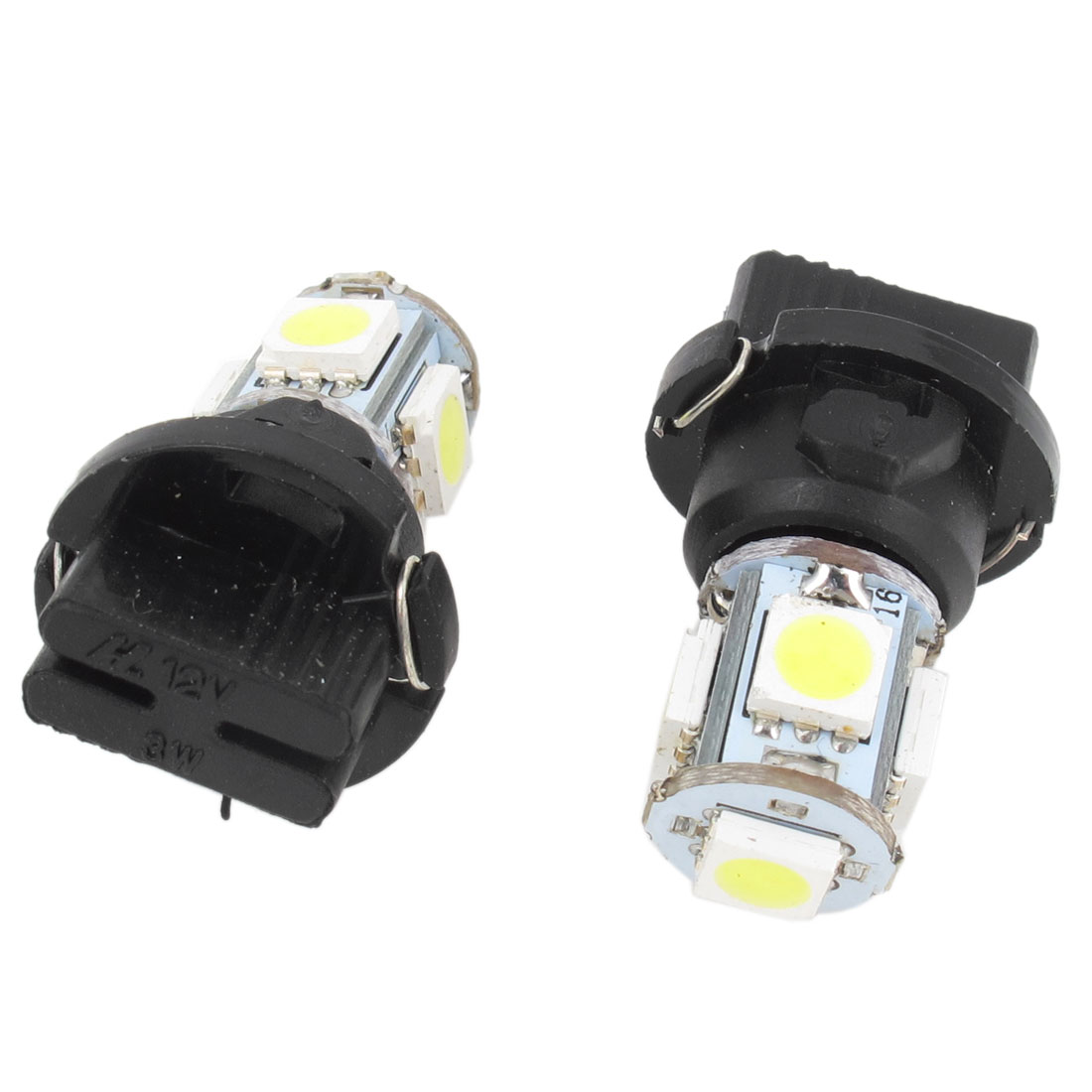 2 Pcs T10 White Auto Car 5 LED 5050 SMD Dashboard Indicator Side Light Internal