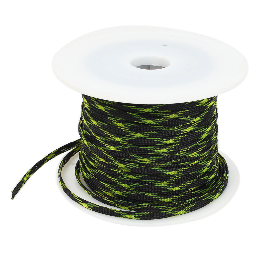 100m Green Black Car Audio Expandable Braided PET Sleeving Cable Weave Protector