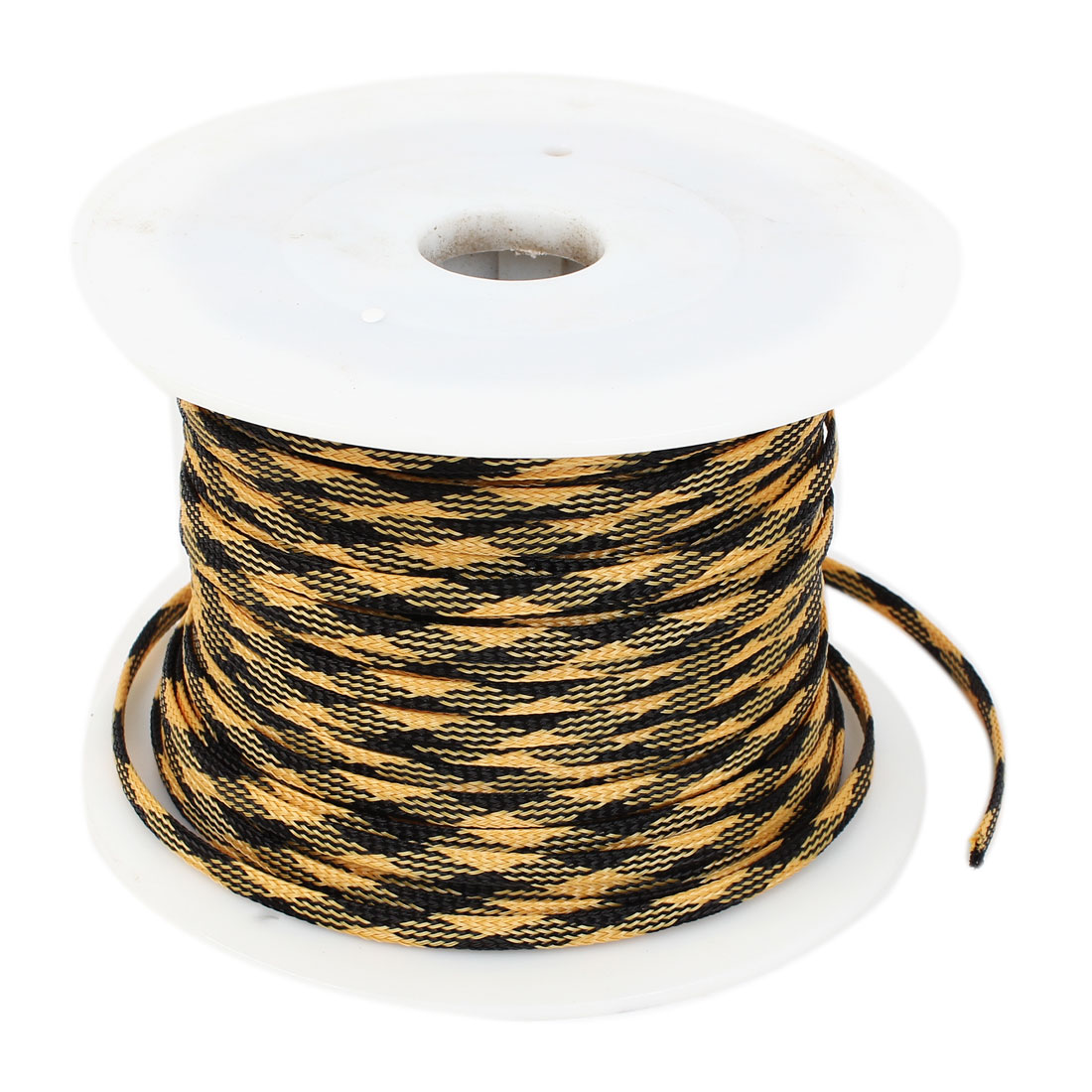 Car Audio Braided Polyester Sleeving Cable Cover Yellow Black 100M Length