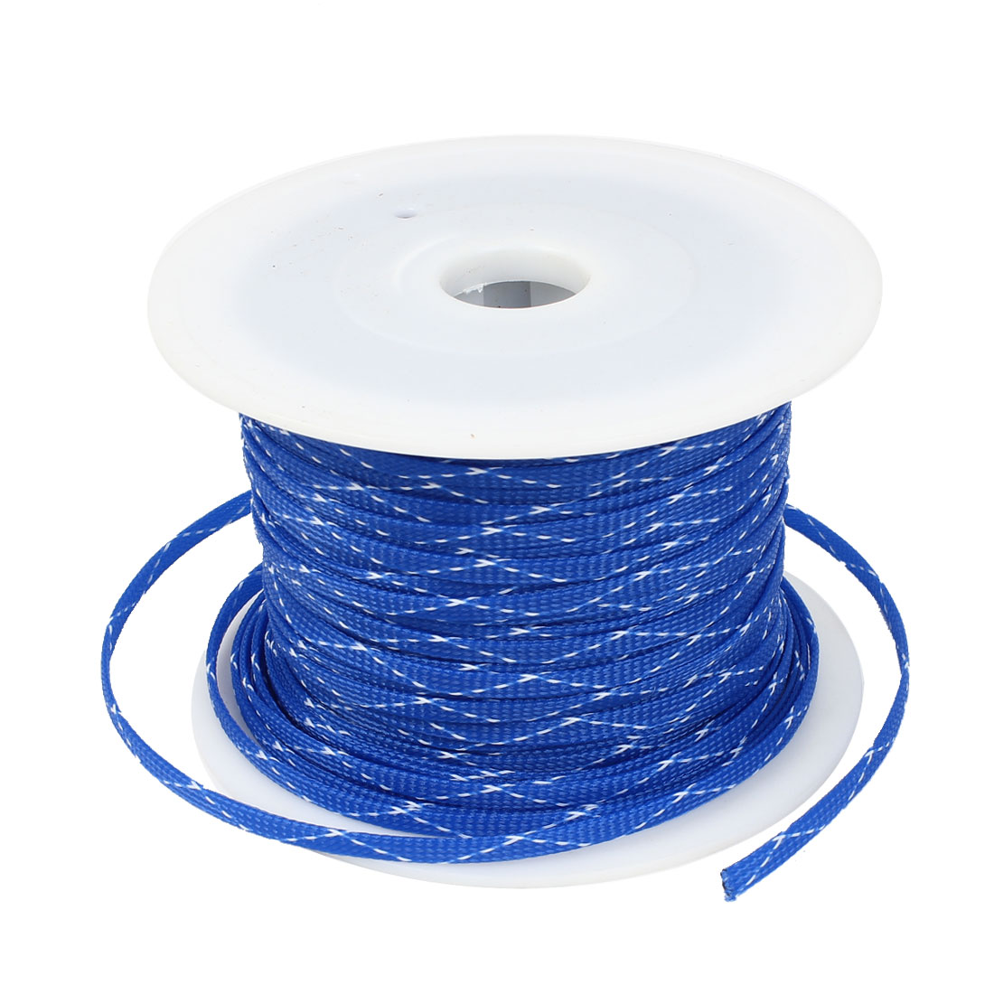 100m x 7mm Blue White Expandable Braided PET Sleeving Cable Weave for Car Audio