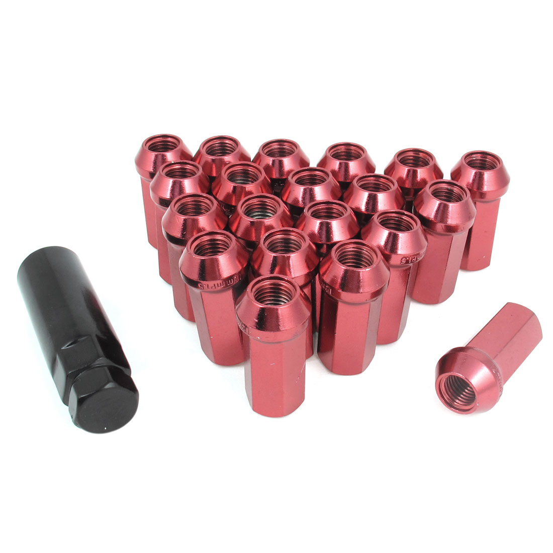 20 Pcs M12 x 1.5 Thread Locking Hex Open End Lugnut Lug Nuts Red for Car
