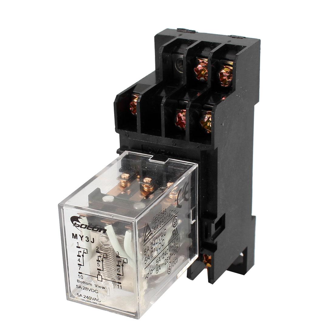 35mm DIN Rail DC 48V Coil Power Relay 11-Pin 3PDT 5A AC250V DC28V w Socket
