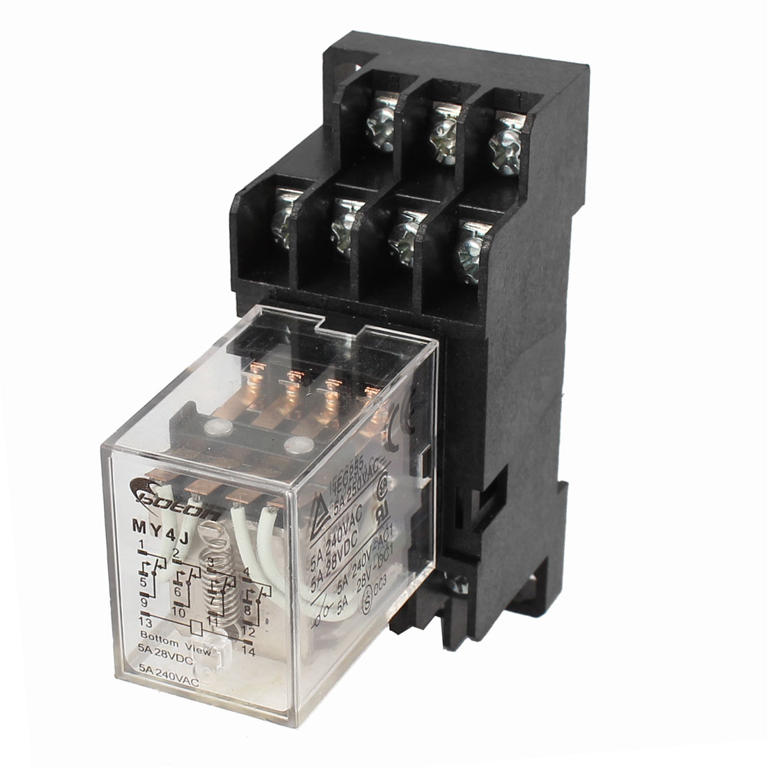 MY4J-AC24V DIN Rail Coil 4PDT 14P General Purpose Power Relay w Base