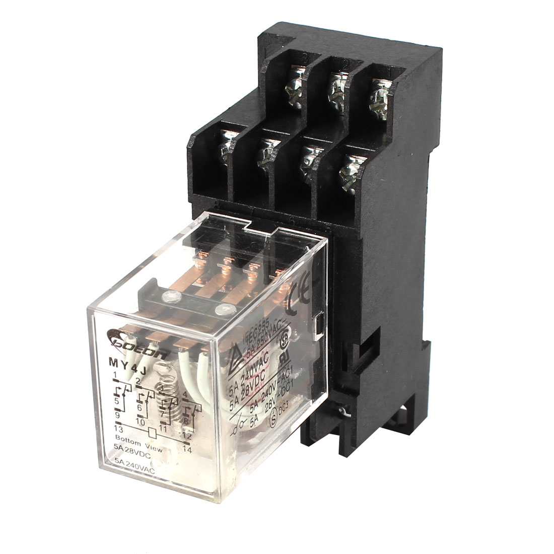 MY4J-AC6V Coil 5A Electromagnetic Relay 14Pin 4PDT 4 NO 4 NC w Base Socket