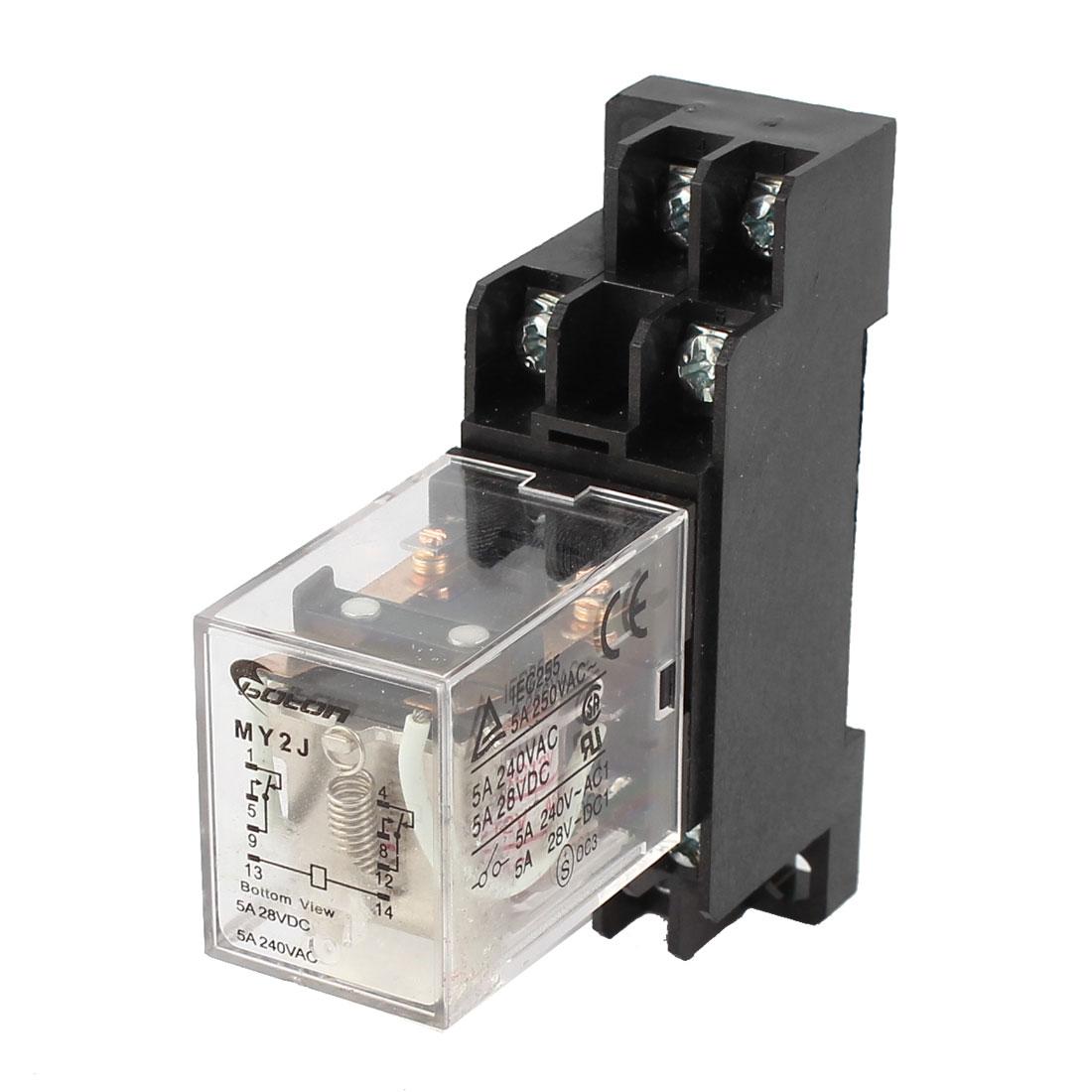 MY2J-AC12V Coil General Purpose Power Relay 8Pin 5A AC240V DC28V w Socket