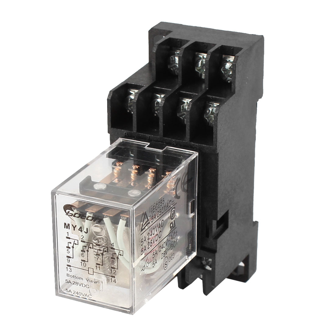 MY4J-AC110V Coil 5A Electromagnetic Relay 14-Pin 4PDT 4 NO 4 NC w Base Socket