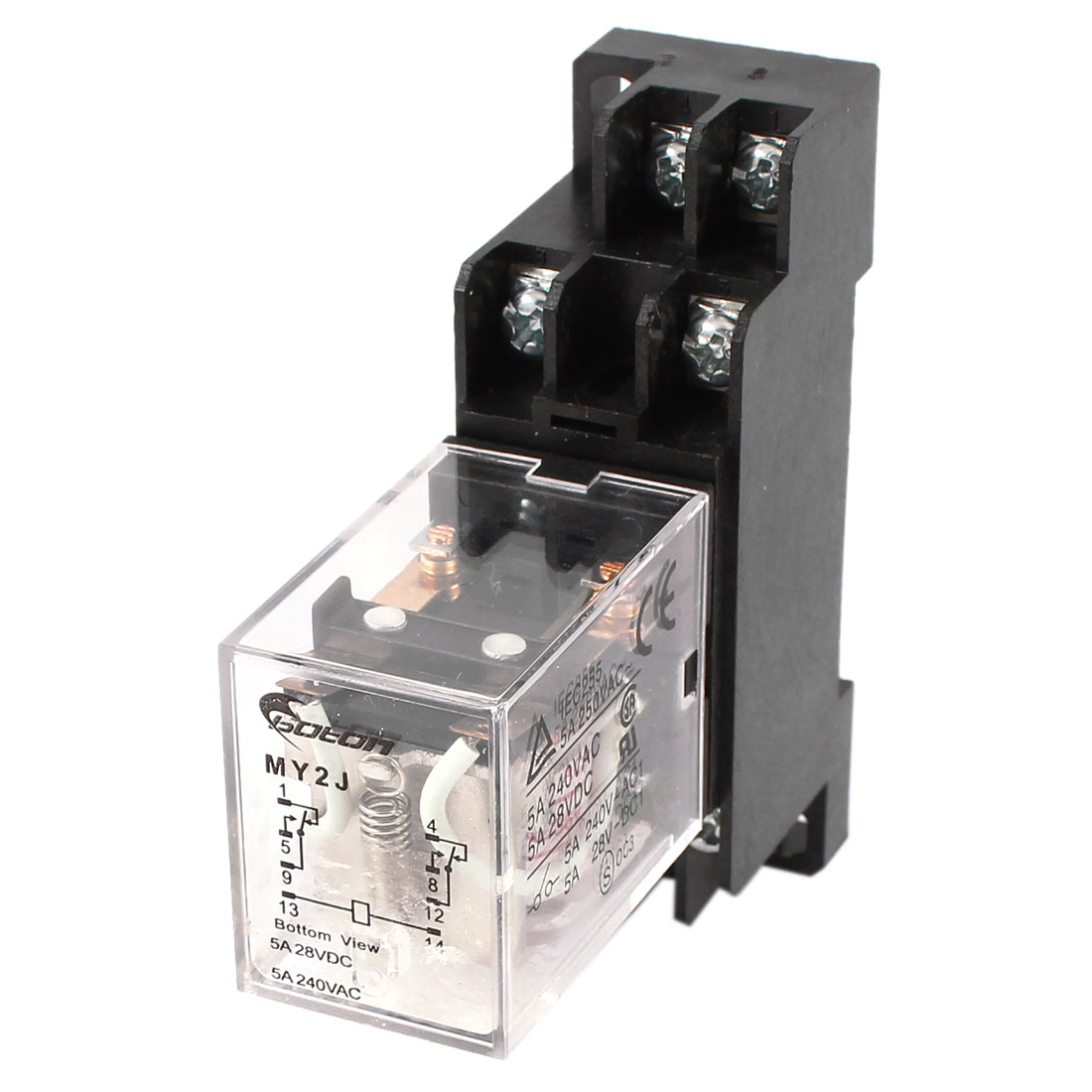 MY2J-AC36V Coil General Purpose Relay DPDT 8 Pin 5A w Socket Base