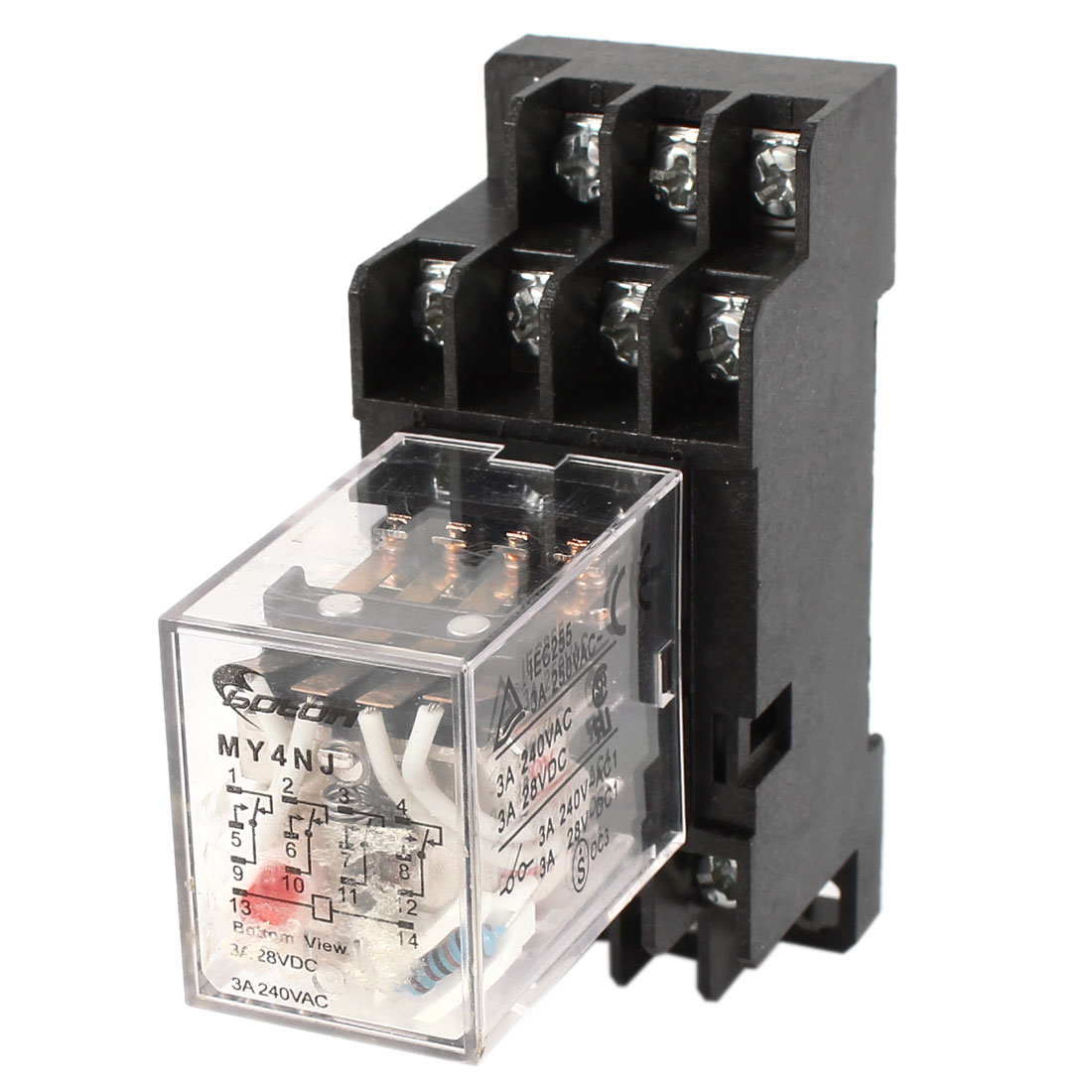 AC220V Coil Voltage 4PDT Electromagnetic Power Relay MY4NJ w Socket