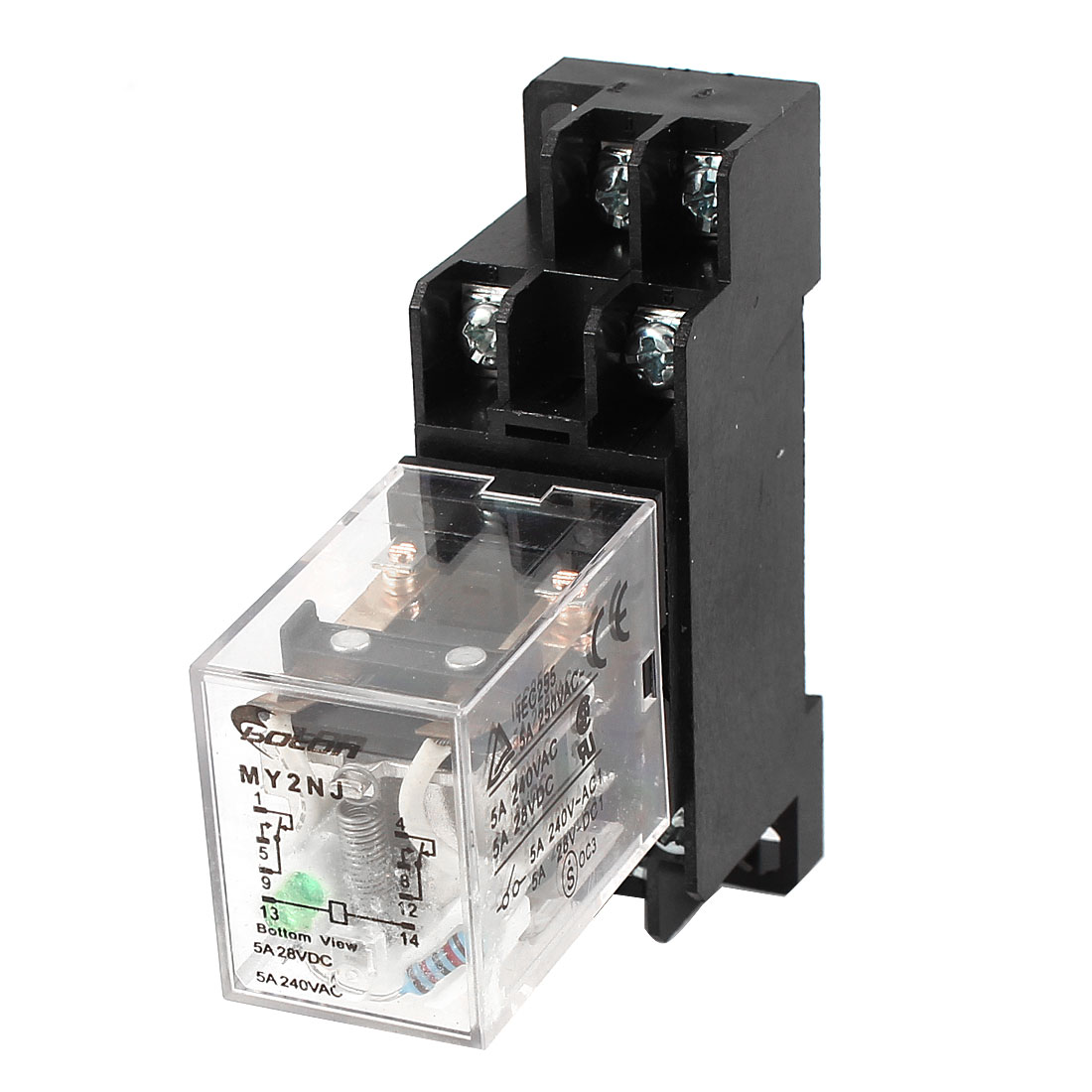 DC24V Coil 8 Pin 35mm DIN Rail Electromagnetic Relay Power Relay MY2NJ w Socket