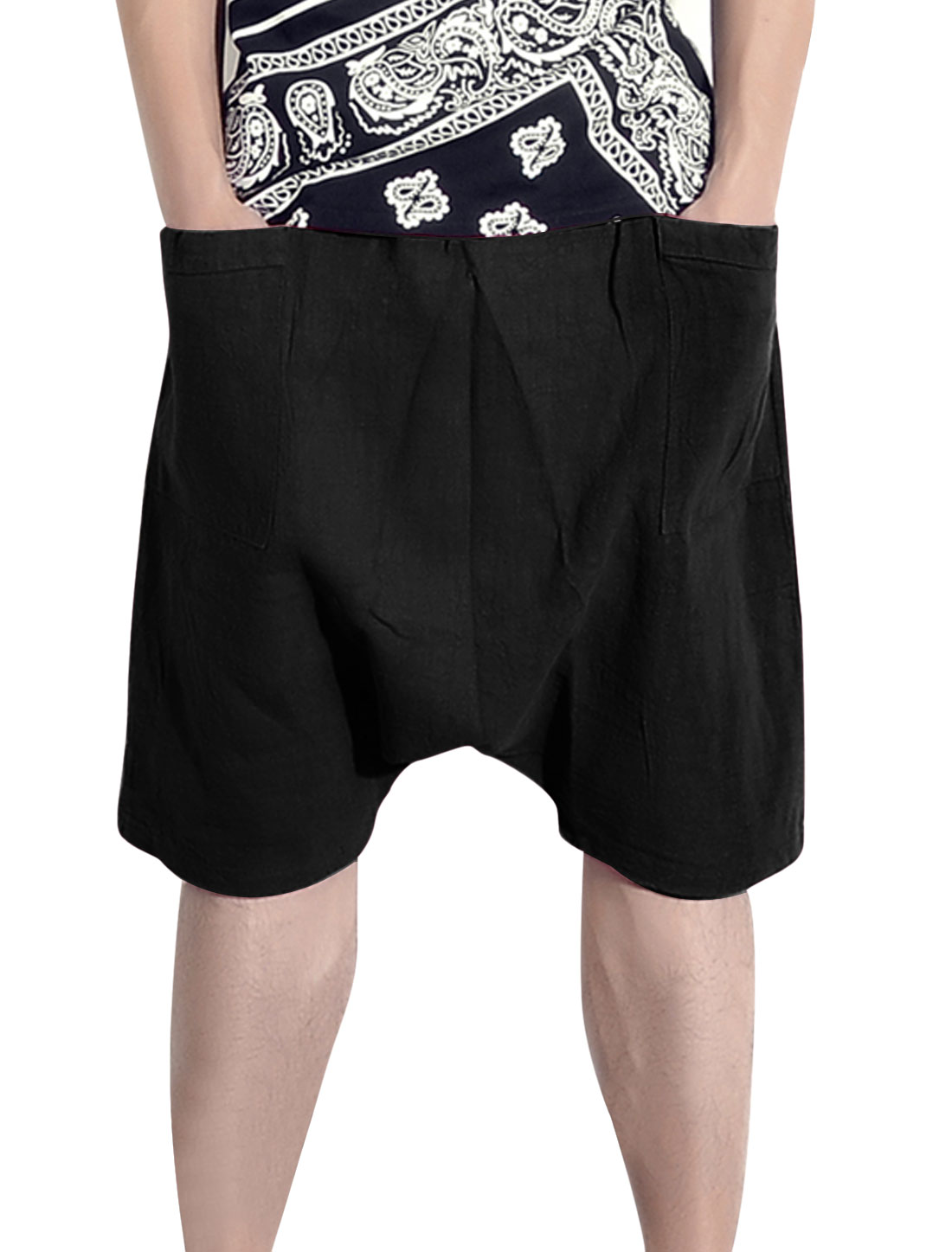 Men Elastic Waist Two Front Pockets Casual Harem Shorts Black W30