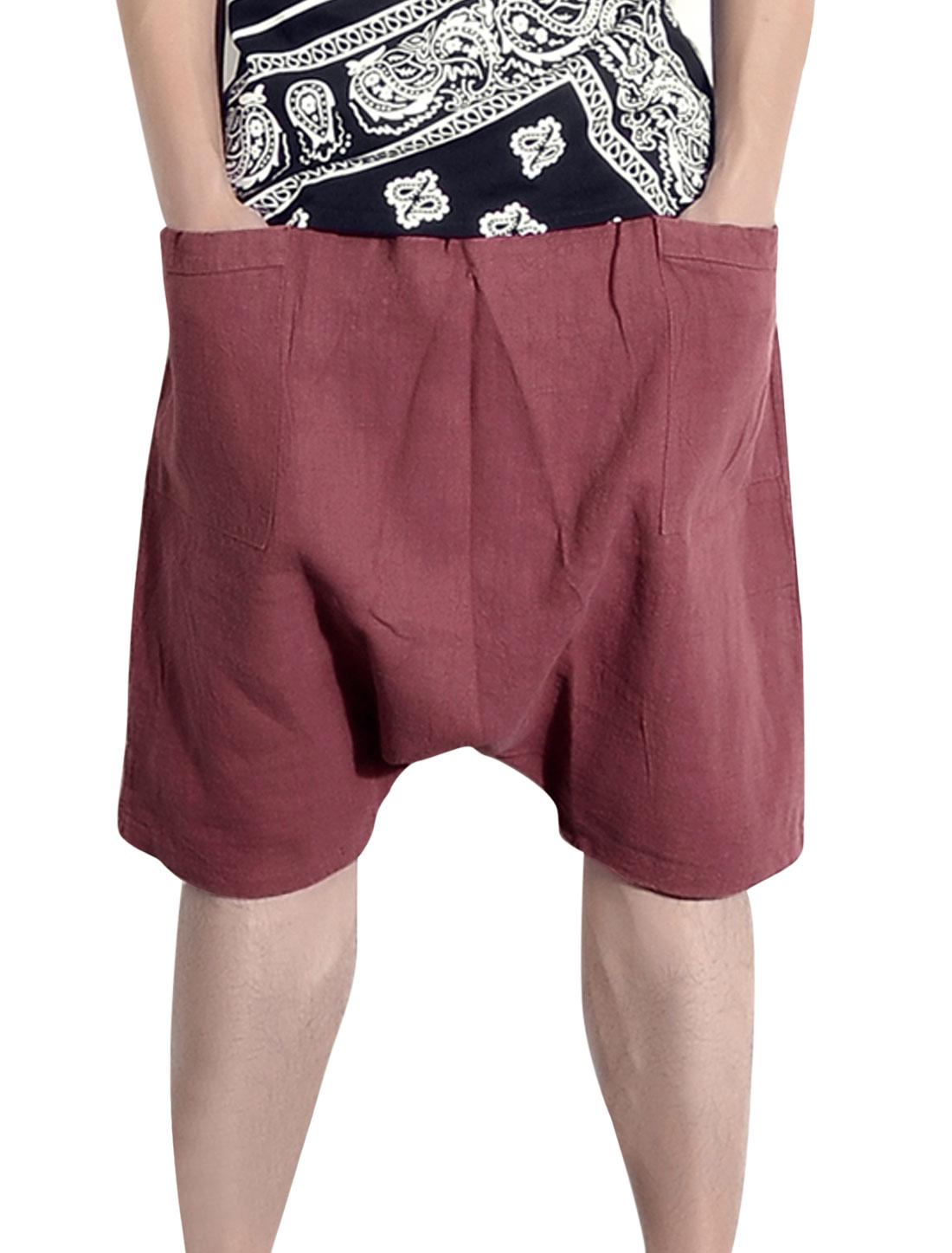Stretchy Waist Patch Pcokets Cozy Fit Harem Shorts for Men Light Burgundy W30