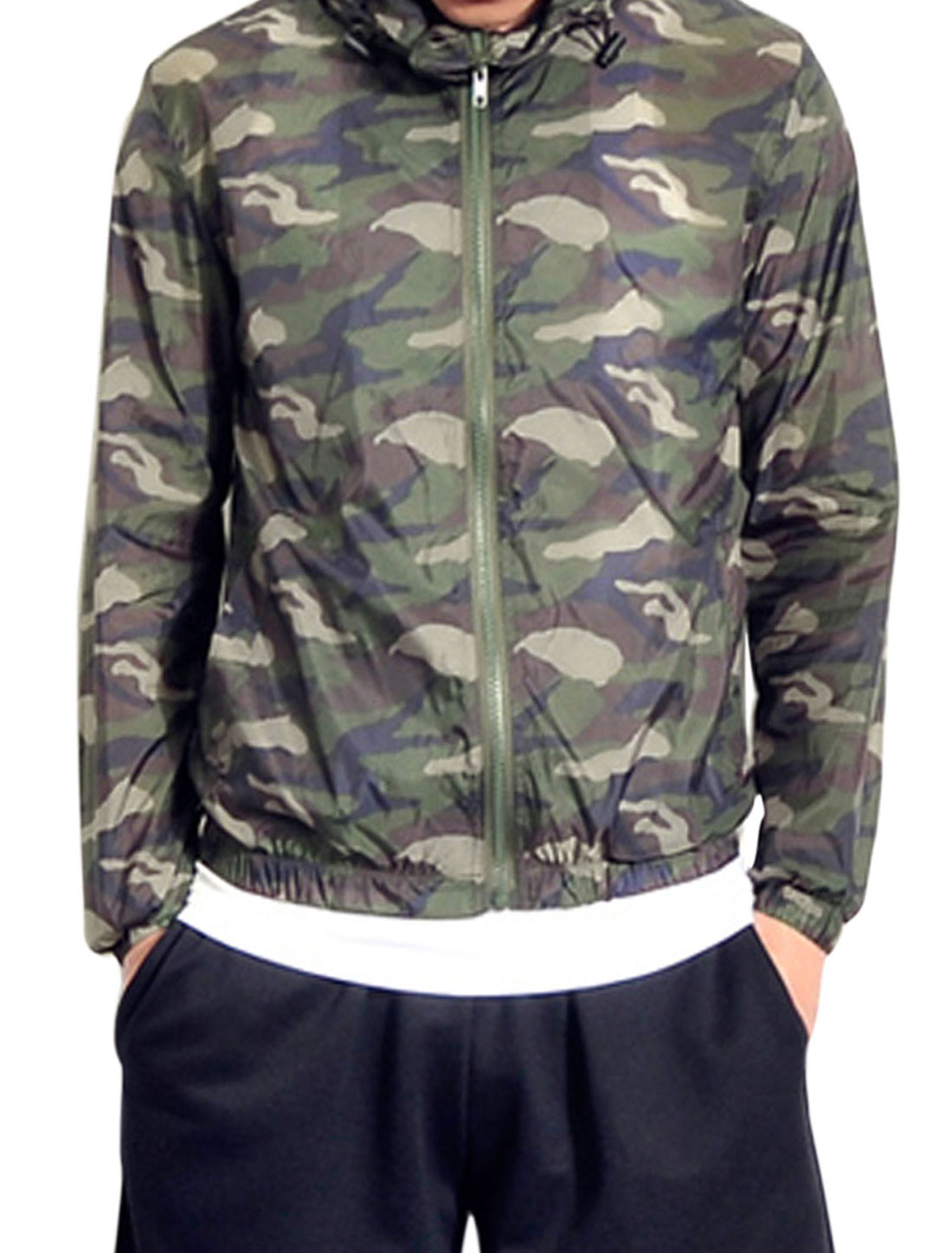 Men Zipper Up Camouflage Pattern Casual Light Jacket Army Green S