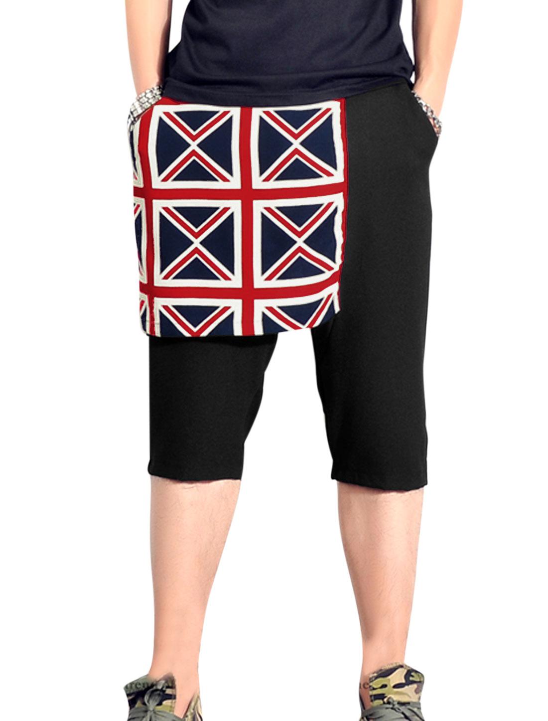 Men British Flag Pattern Panel Casual Capris Pants Red Black W30