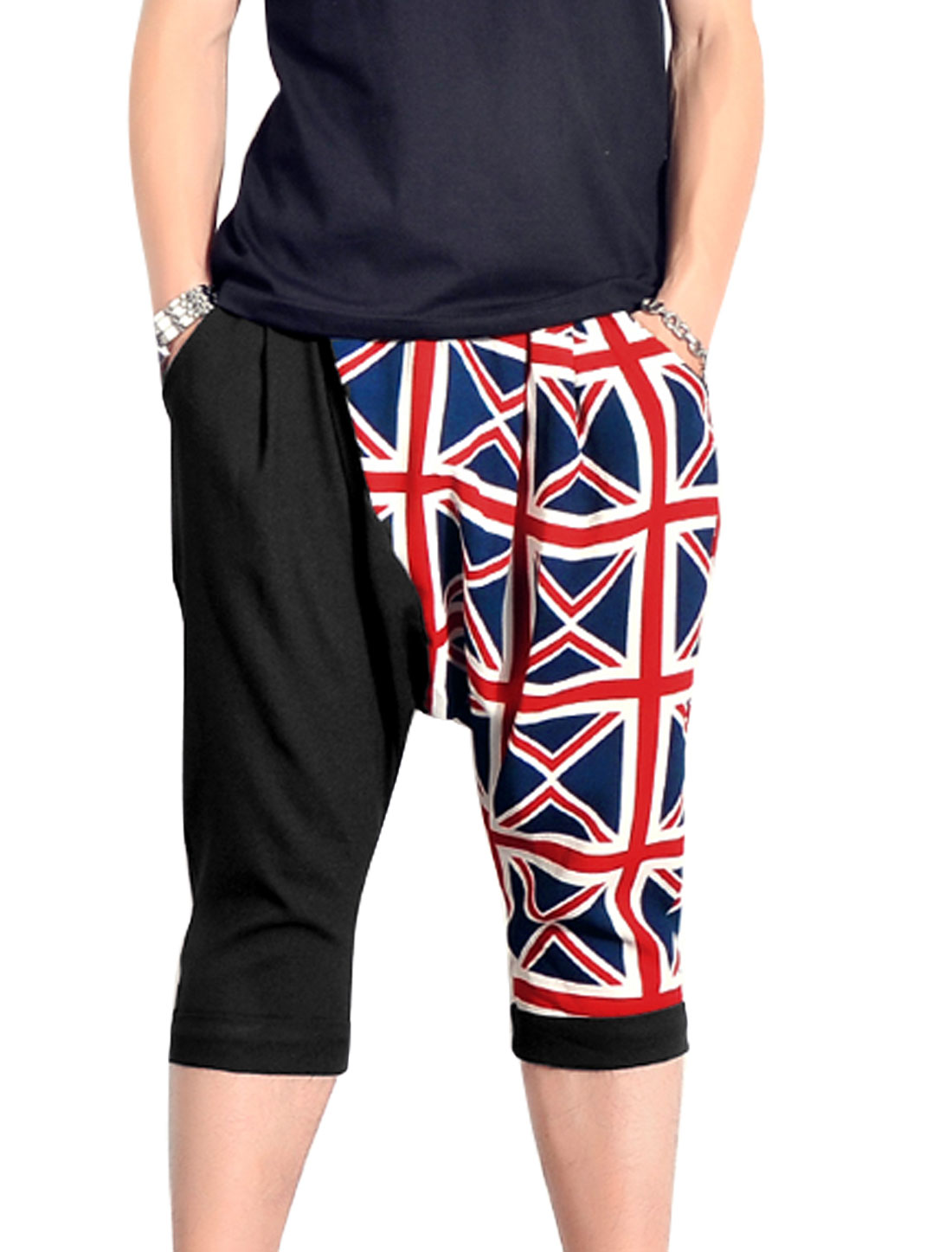 Men British Flag Pattern Panel Casual Capris Pants Red Black W30