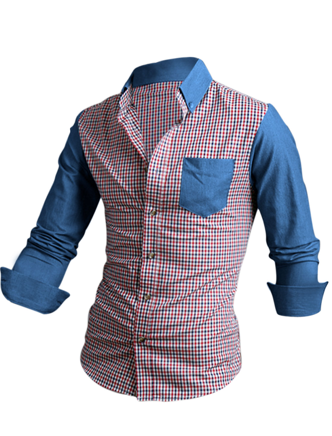 Men Color Block Plaids Pattern Single Breasted Round Hem Casual Shirt Red M