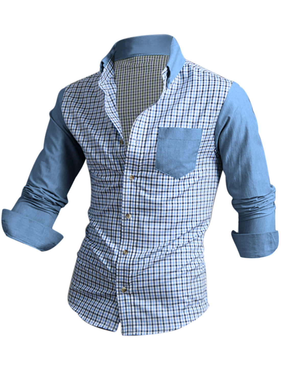 Men Checks Pattern Single Breasted Contrast Color Shirt Light Blue M
