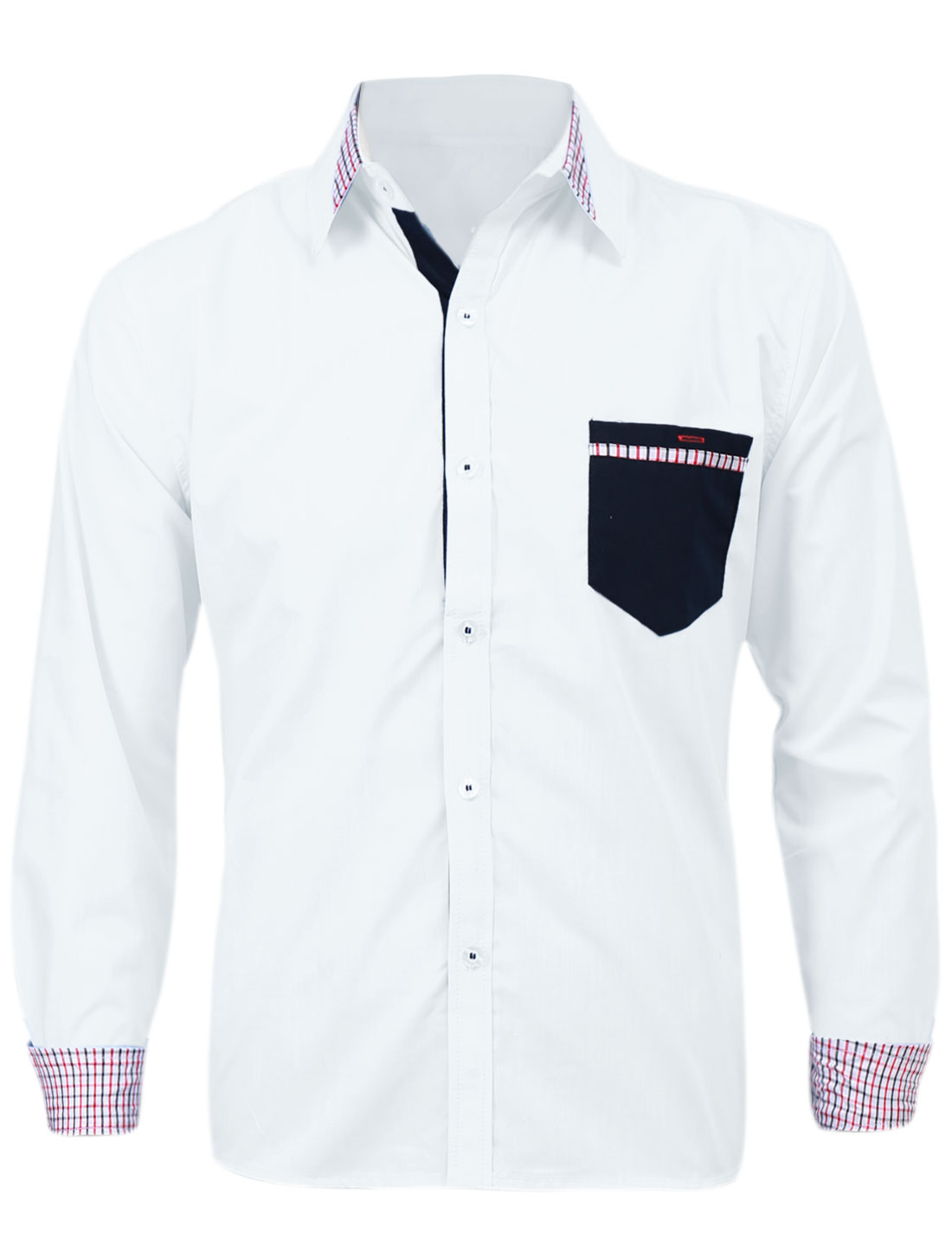 Men Point Collar Plaids Detail Single Breasted Casual Shirt White M