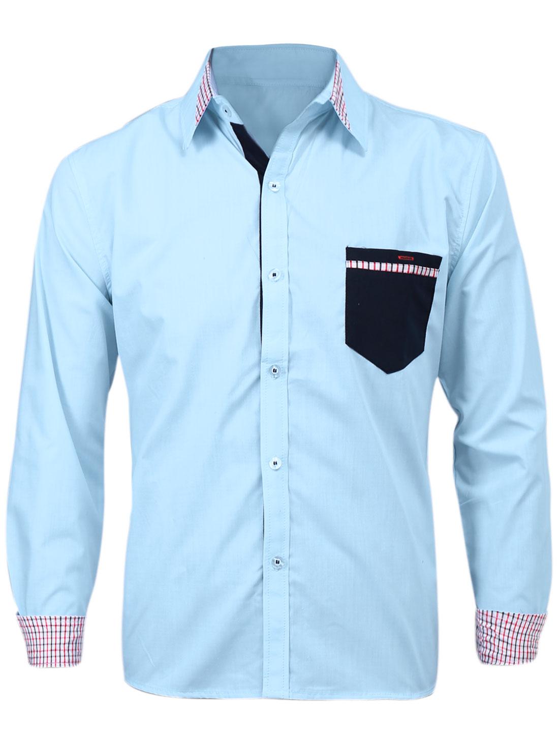 Men Point Collar Plaids Detail Button Front Casual Shirt Sky Blue M