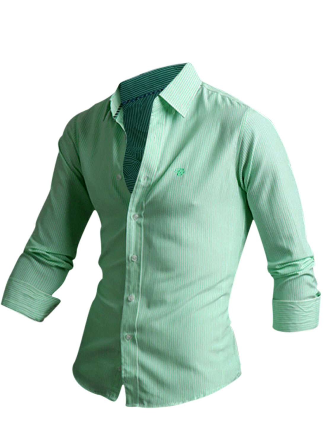Men Button Closure Front Stripes Detail Round Hem Slim Casual Shirt Green M