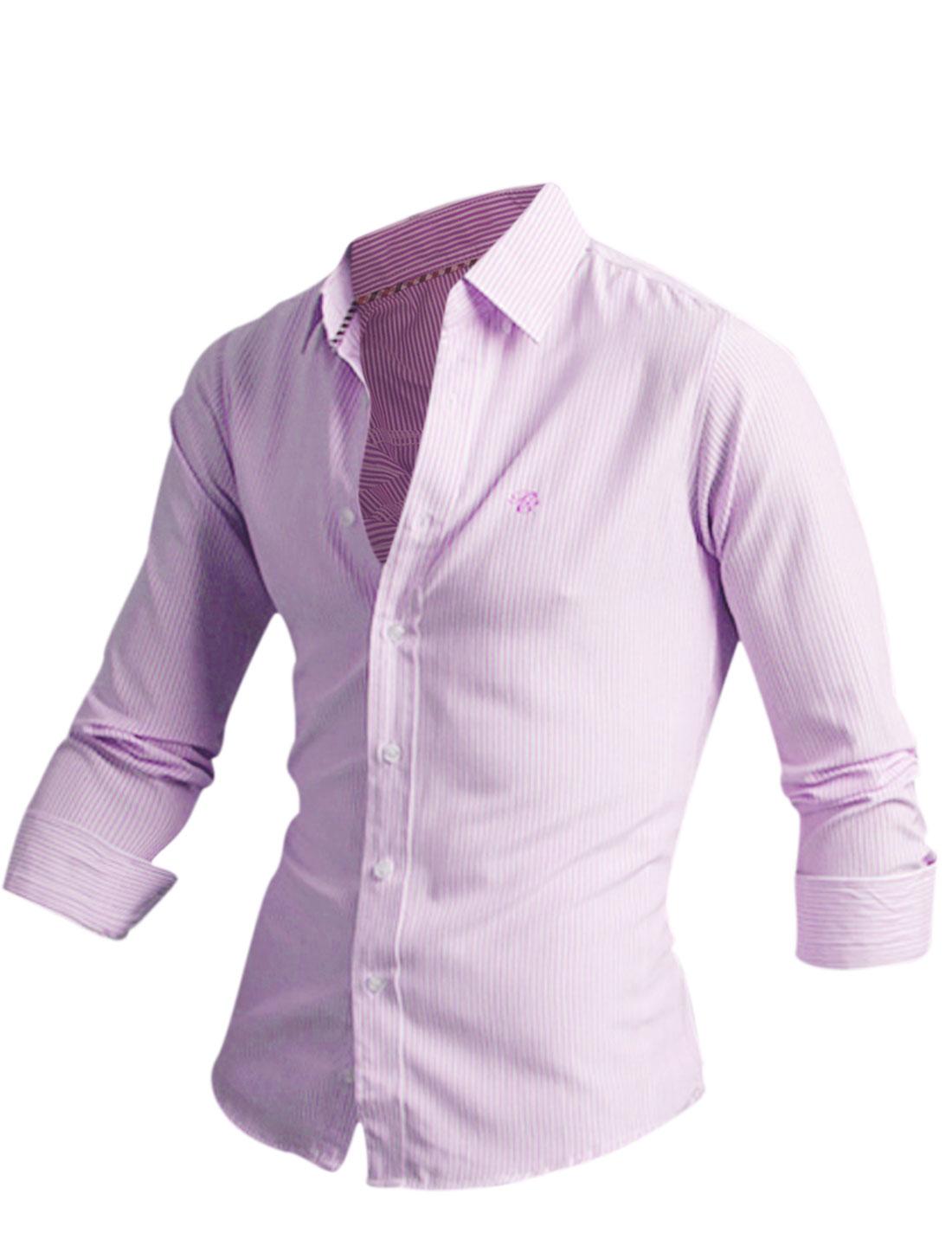 Men Point Collar Long Sleeve Round Hem Slim Casual Shirt Pink M