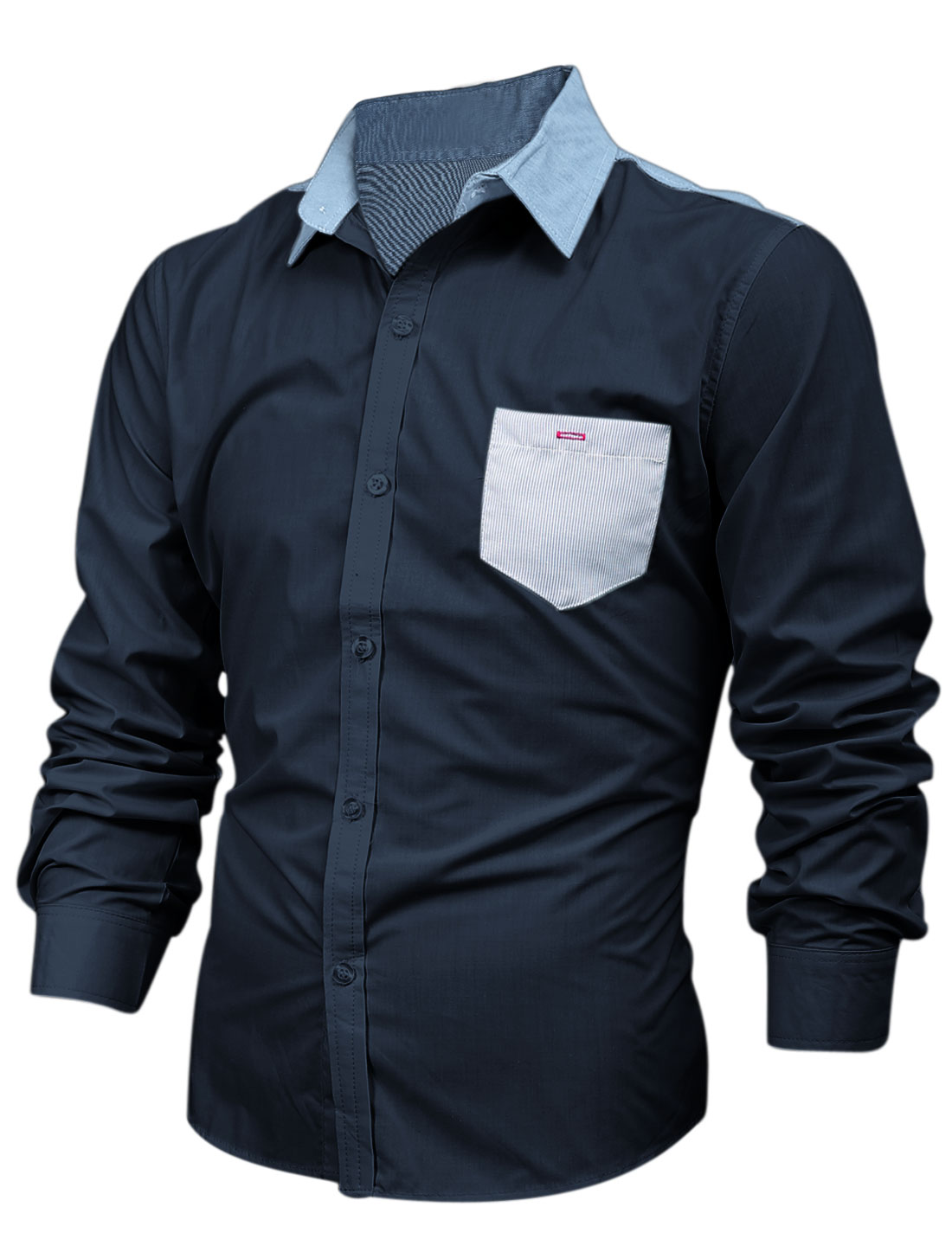 Men Splicing Button Closure Front Point Collar Casual Shirt Navy Blue M