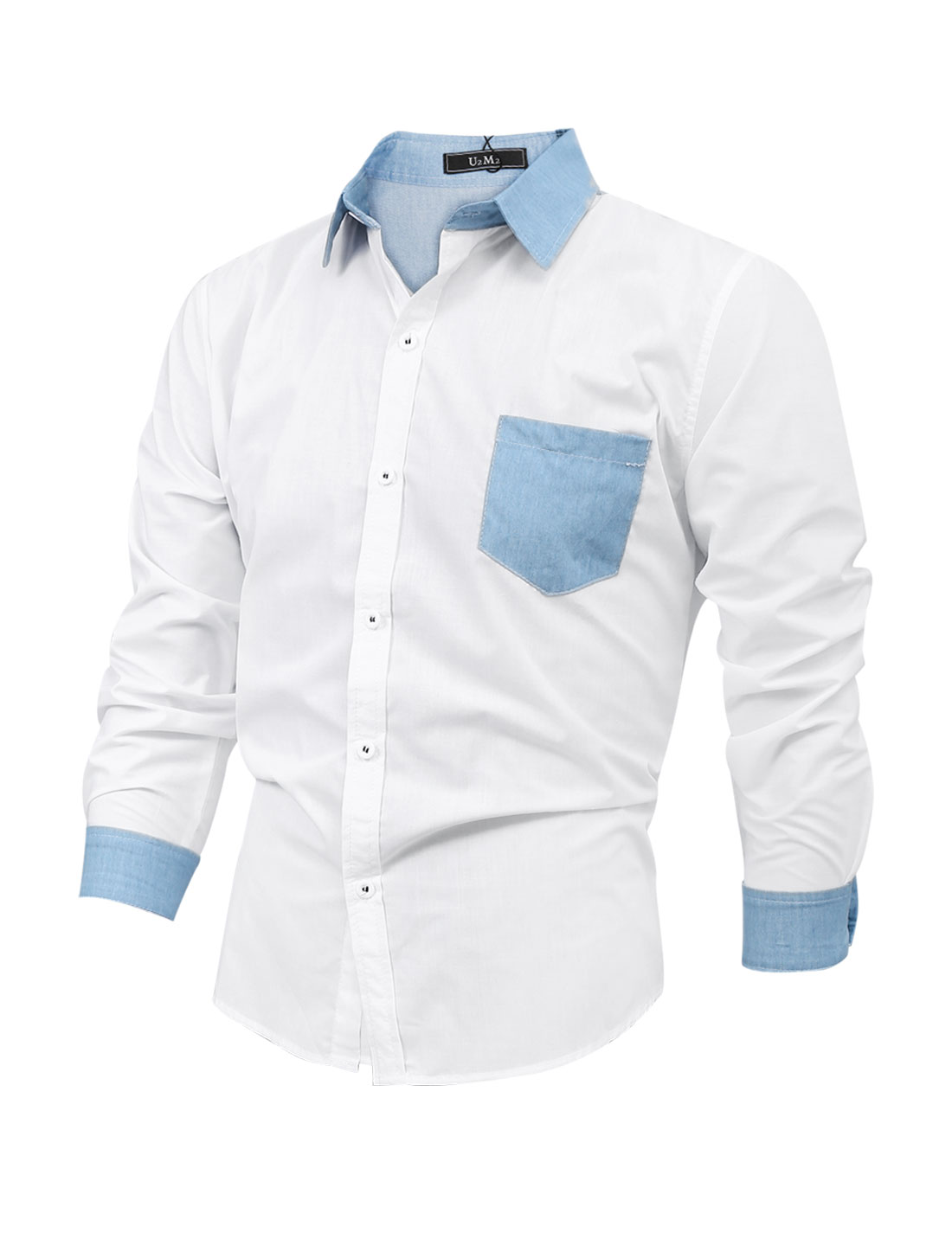 Men Long Sleeve Button Up Thin Denim Panel Shirt White M