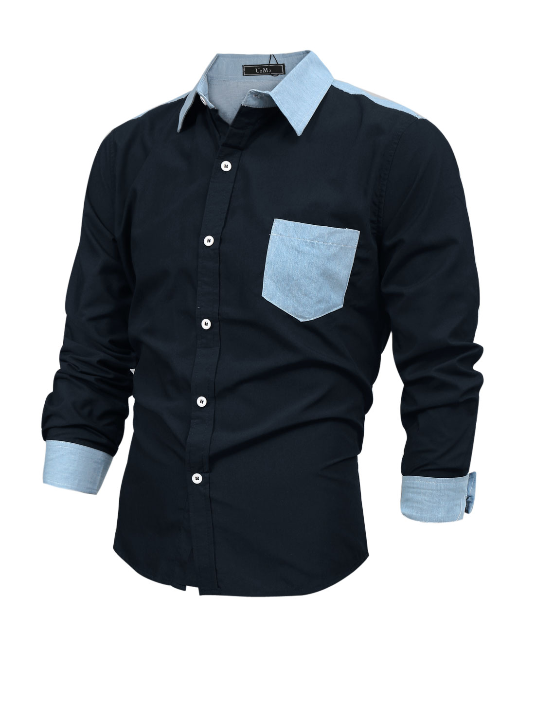 Men Long Sleeve Single Breasted Thin Denim Panel Shirt Navy Blue M