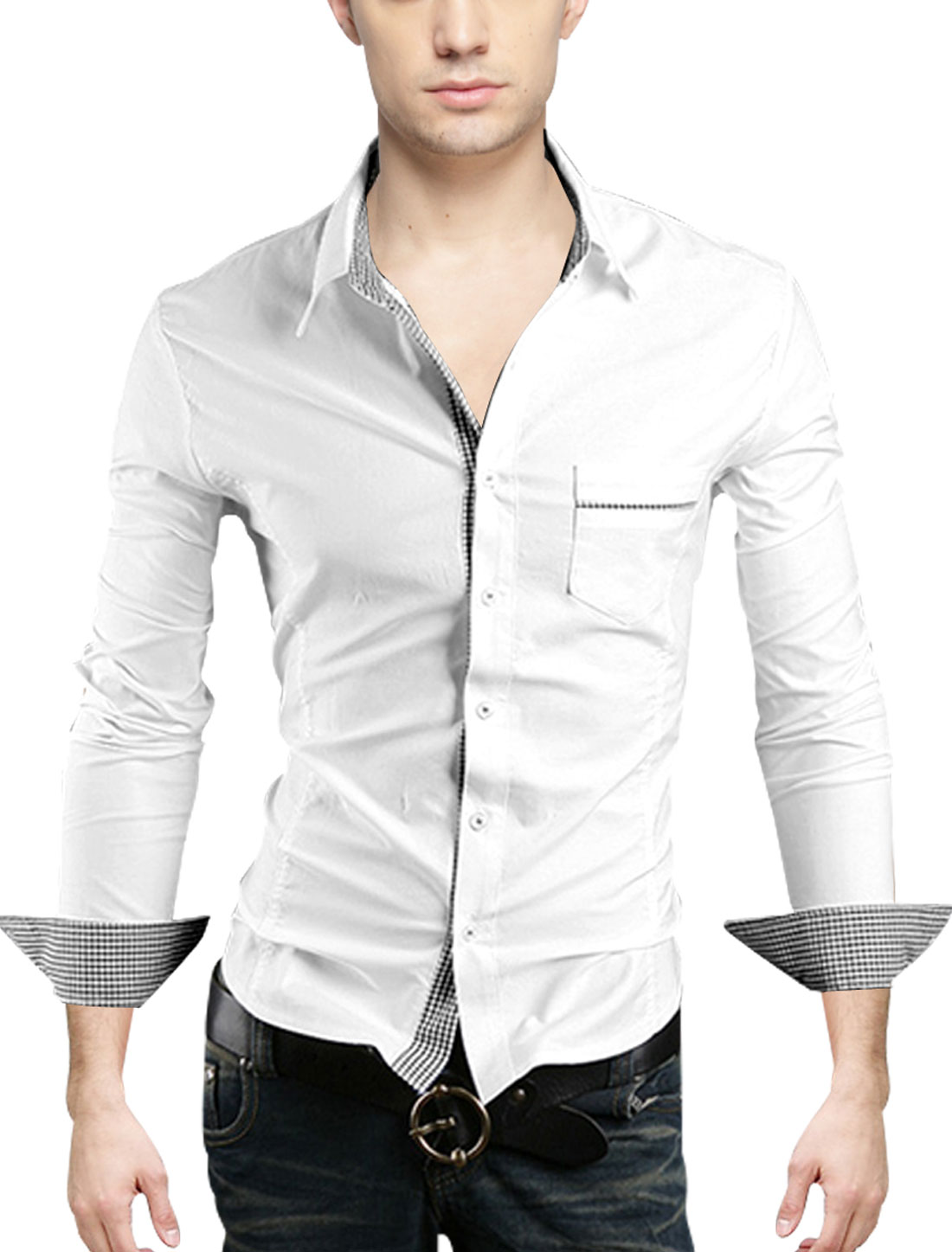 Men Point Collar Plaids Detail Single Breasted Gentleman Shirt White M
