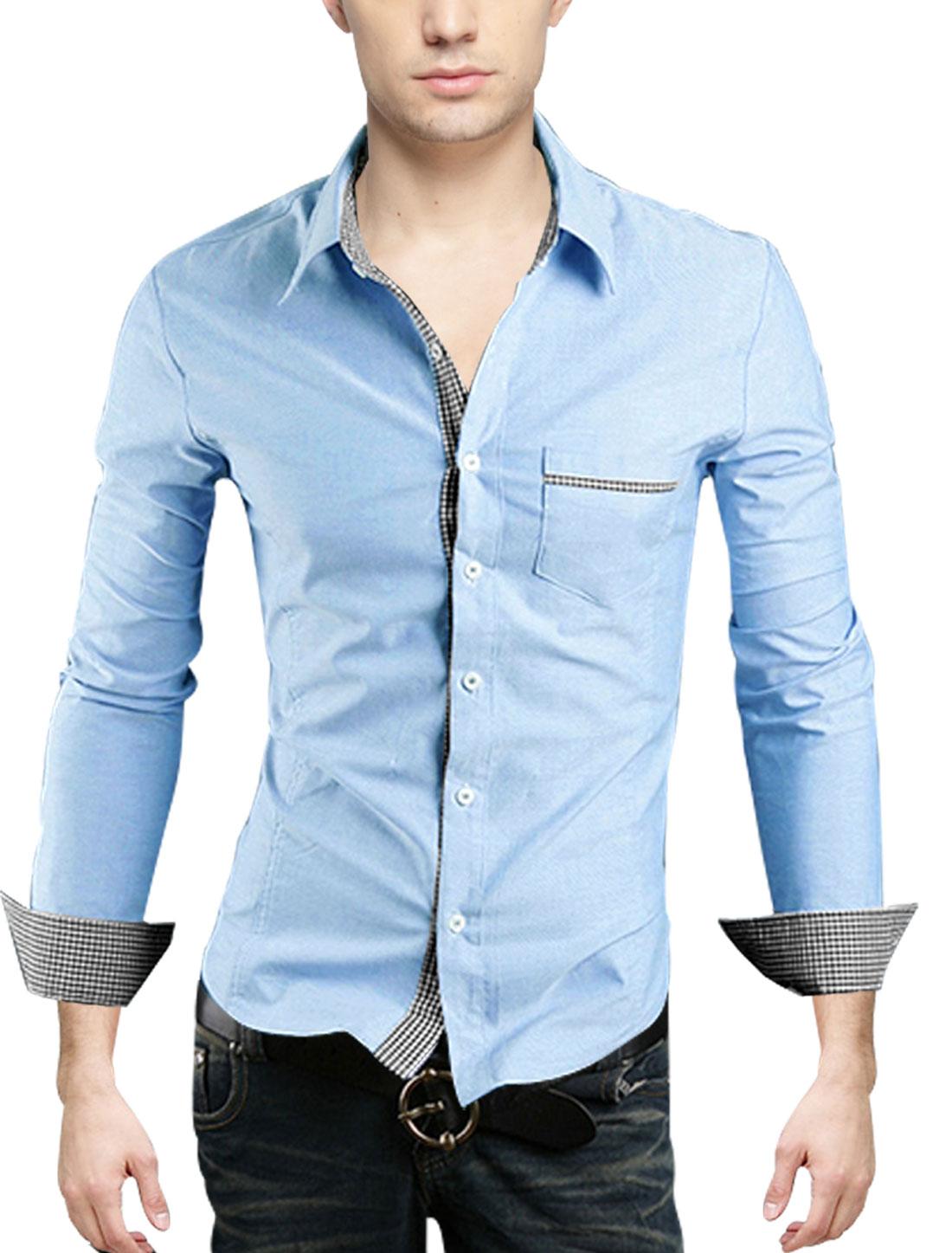 Men Point Collar Plaids Detail Button Closure Gentleman Shirt Sky Blue M