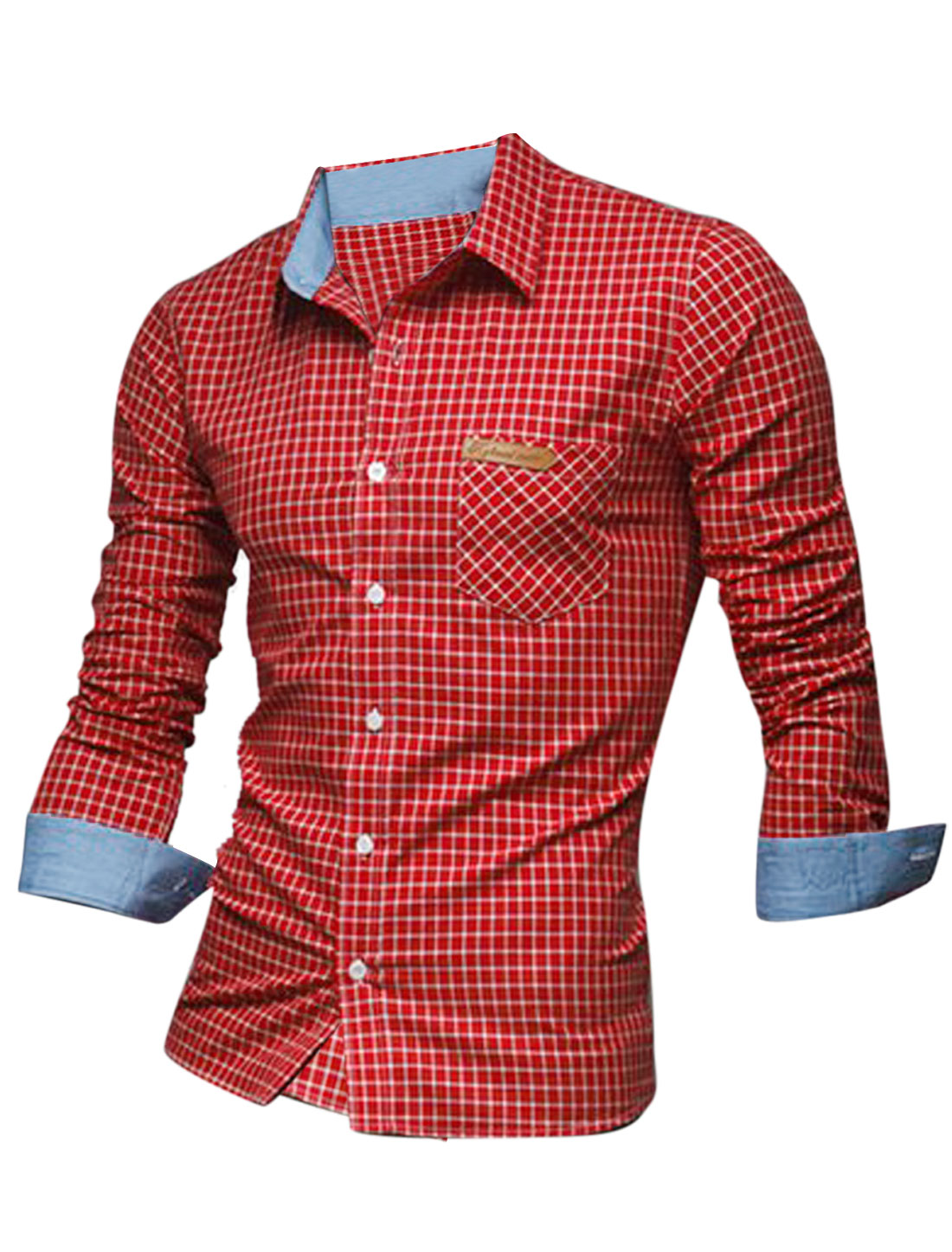 Men Point Collar Long Sleeve Plaids Button Down Gentleman Shirt Red M