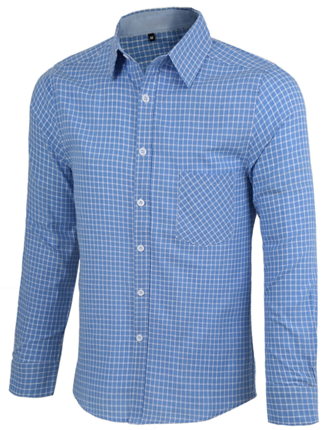 Men Point Collar Long Sleeve Plaids Button Front Gentleman Shirt Sky Blue M