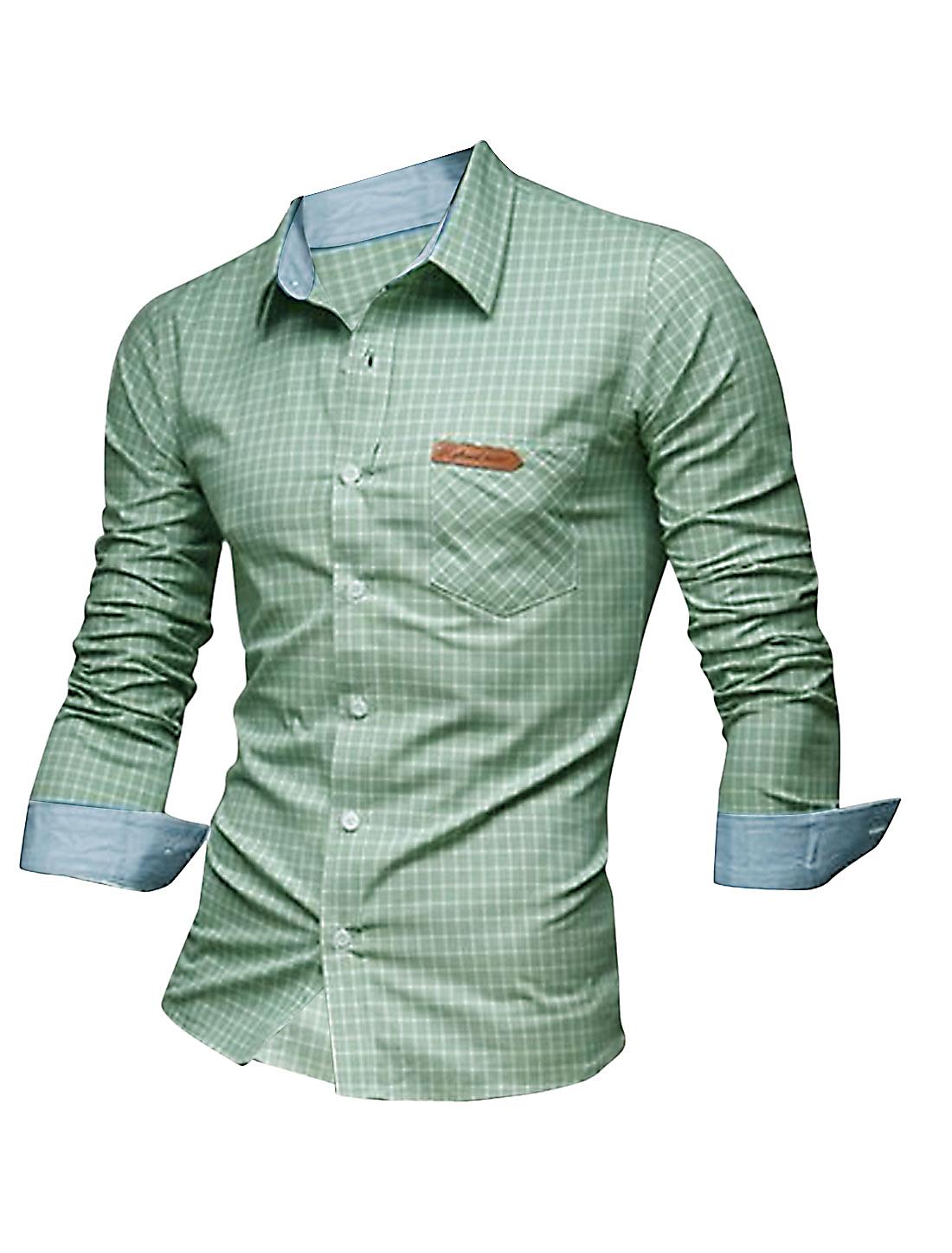 Men Point Collar Plaids Single Breasted Gentleman Shirt Grass Green M